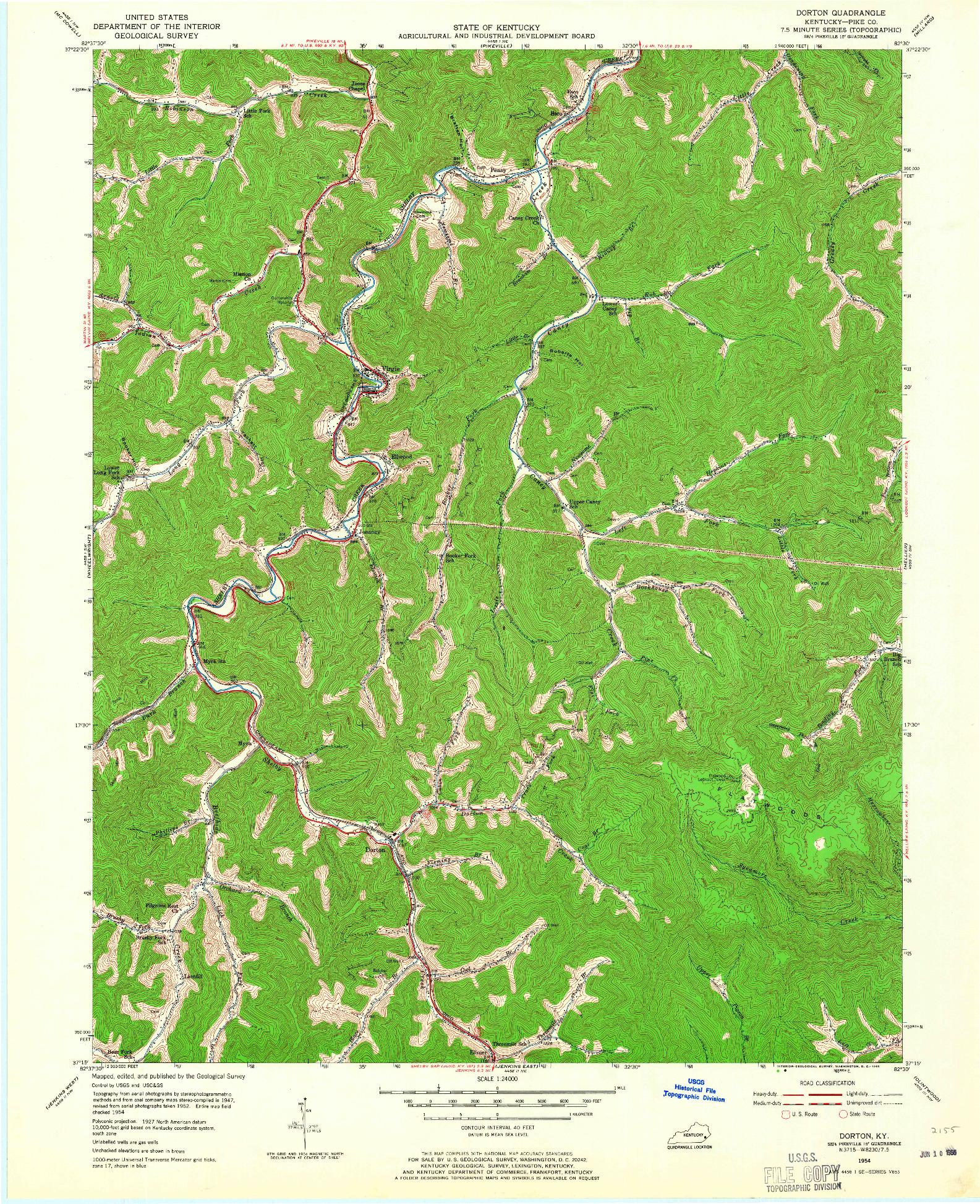 USGS 1:24000-SCALE QUADRANGLE FOR DORTON, KY 1954