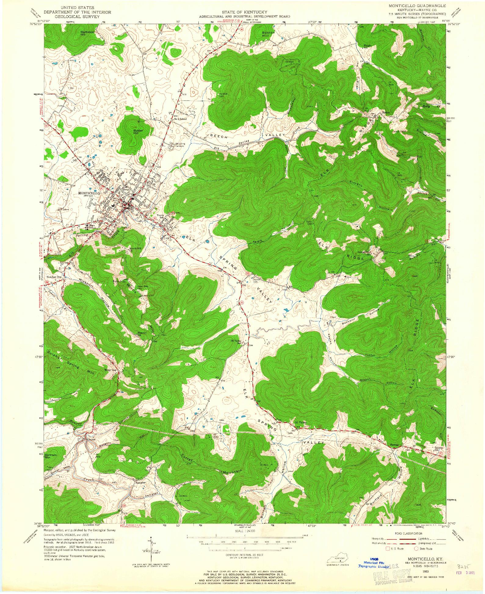 USGS 1:24000-SCALE QUADRANGLE FOR MONTICELLO, KY 1953