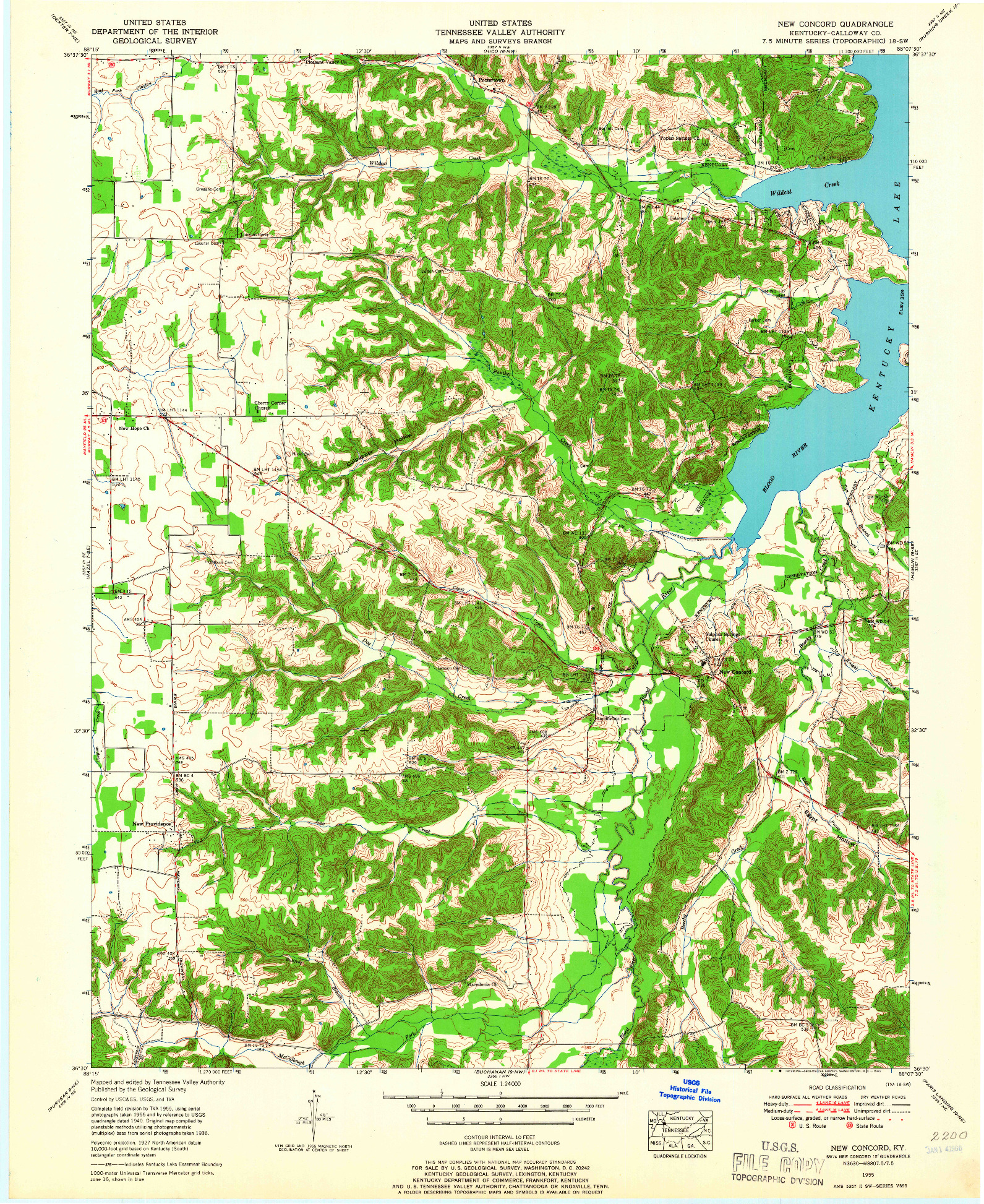 USGS 1:24000-SCALE QUADRANGLE FOR NEW CONCORD, KY 1955