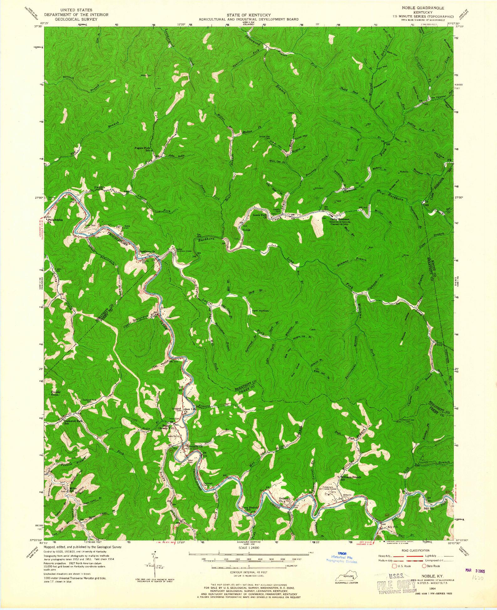 USGS 1:24000-SCALE QUADRANGLE FOR NOBLE, KY 1954
