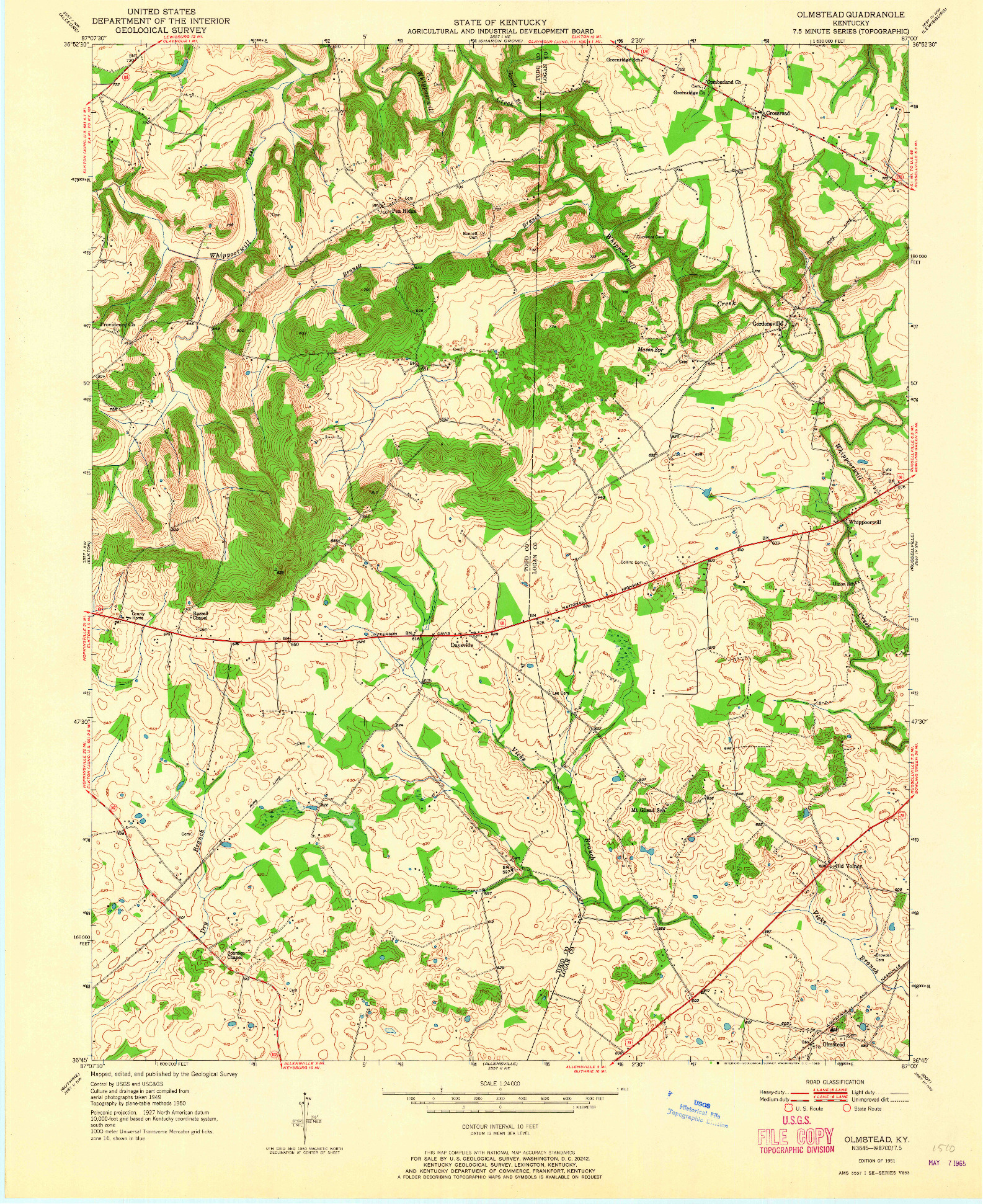 USGS 1:24000-SCALE QUADRANGLE FOR OLMSTEAD, KY 1951