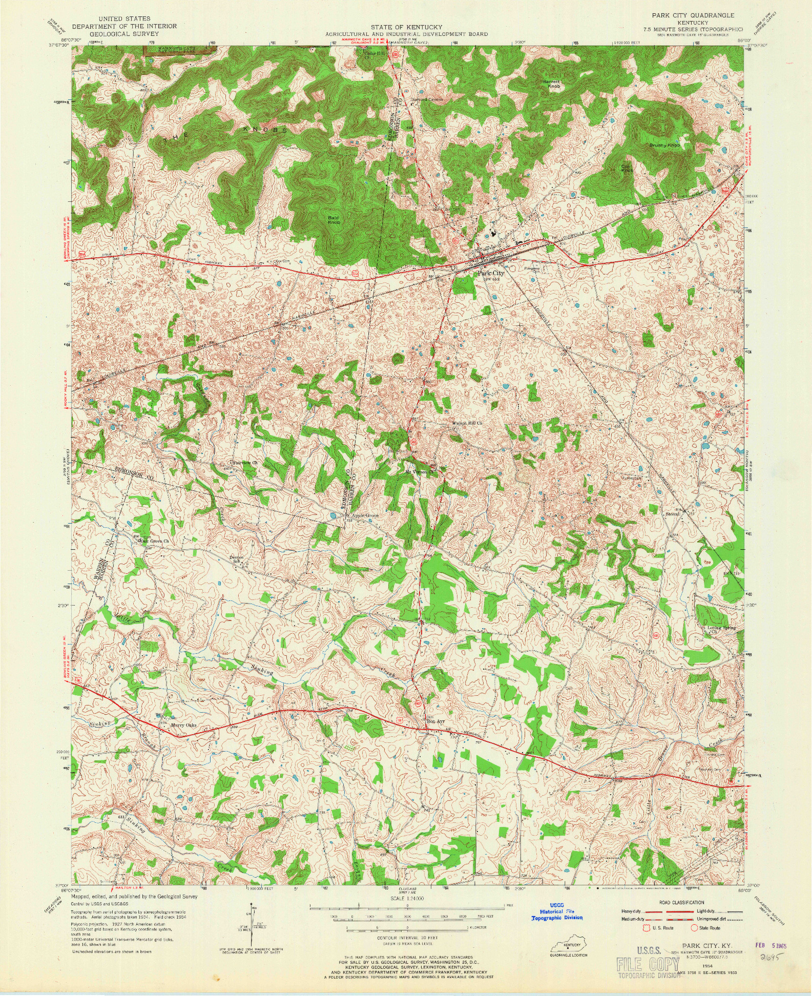 USGS 1:24000-SCALE QUADRANGLE FOR PARK CITY, KY 1954