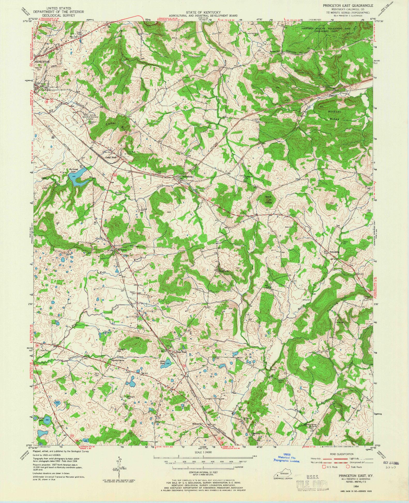 USGS 1:24000-SCALE QUADRANGLE FOR PRINCETON EAST, KY 1954