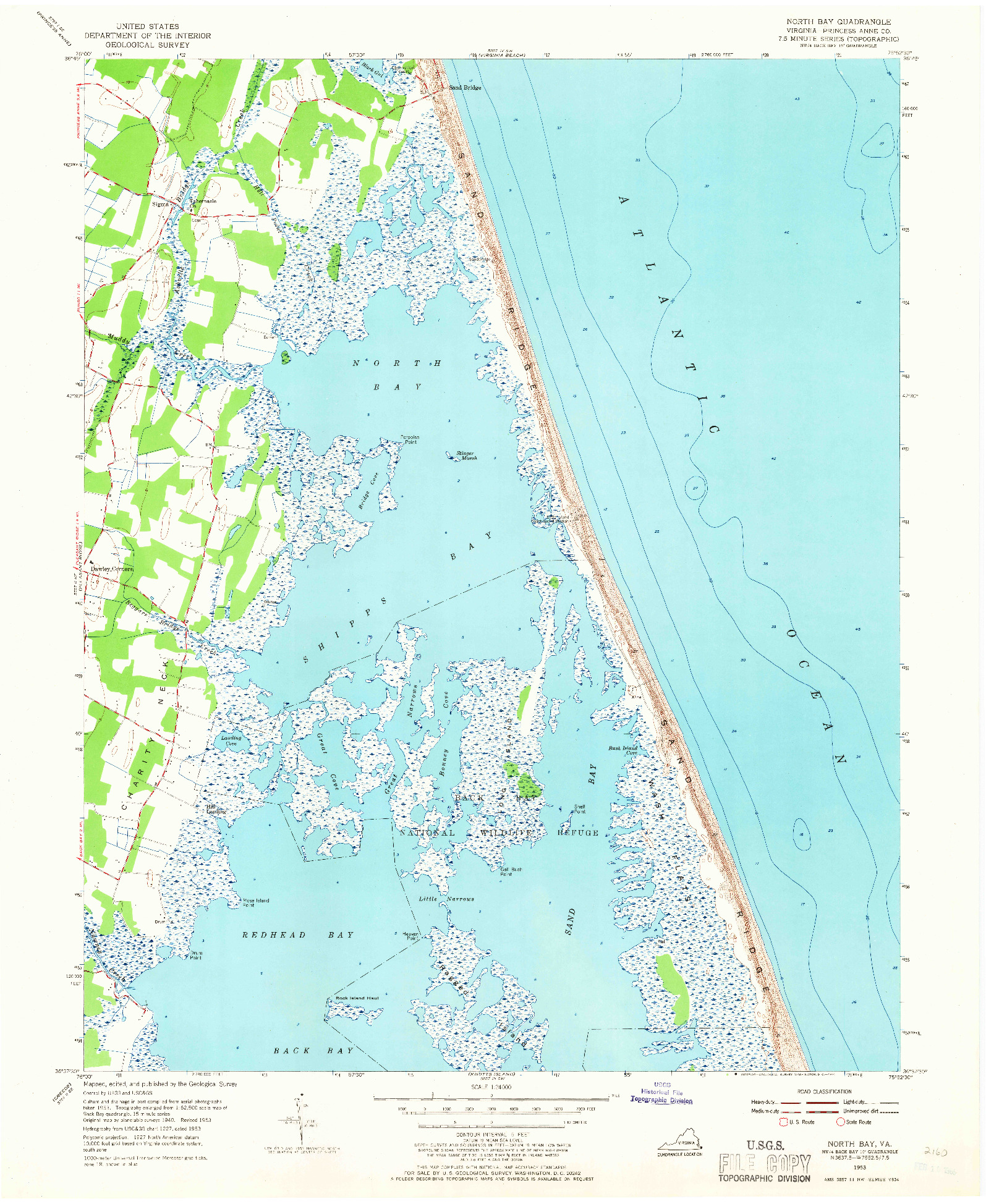 USGS 1:24000-SCALE QUADRANGLE FOR NORTH BAY, VA 1953