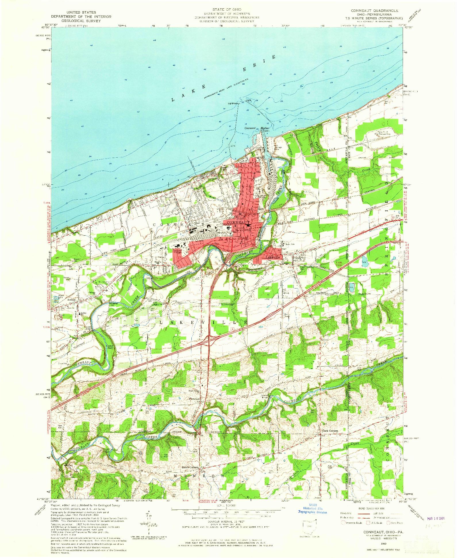 USGS 1:24000-SCALE QUADRANGLE FOR CONNEAUT, OH 1960
