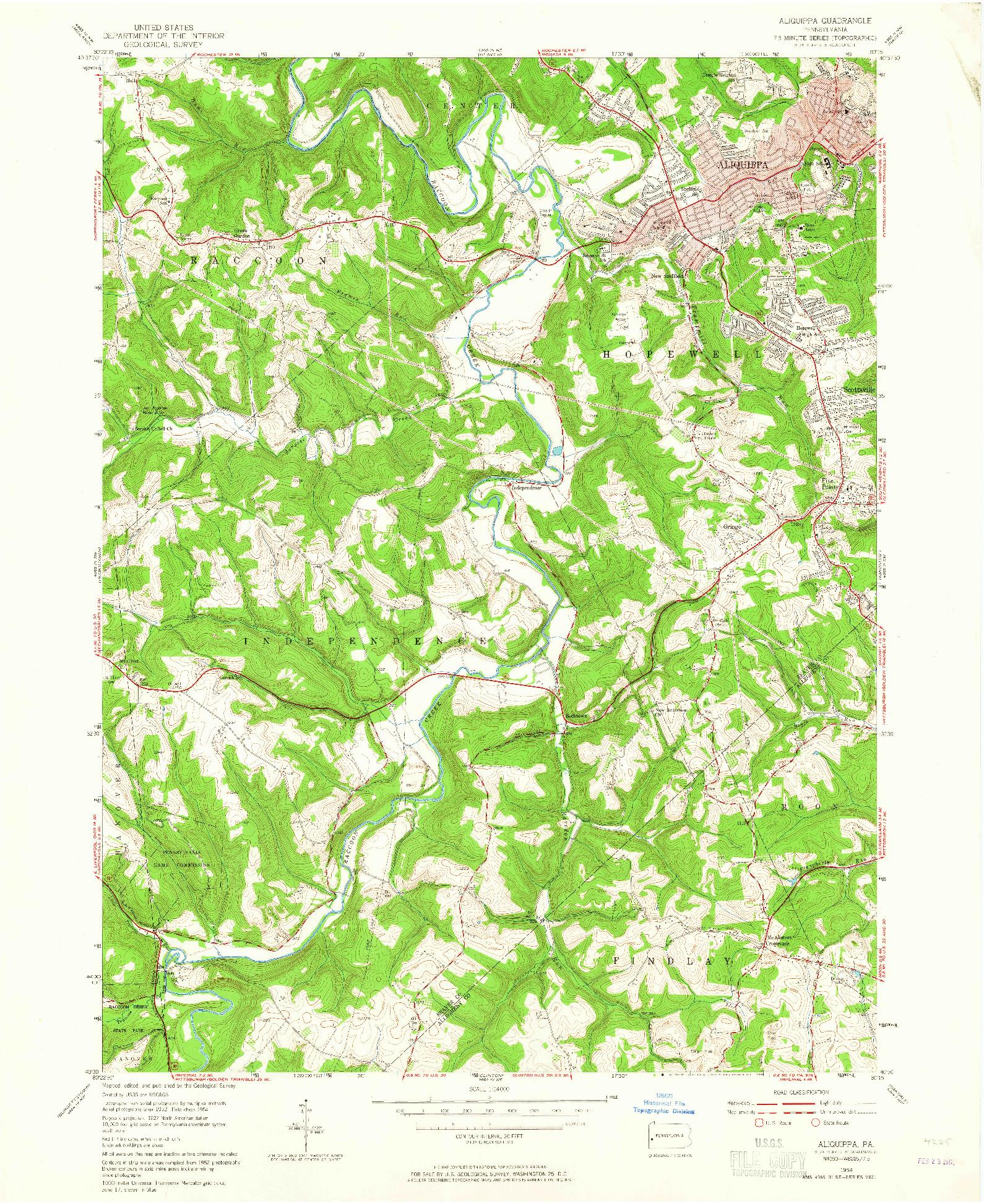 USGS 1:24000-SCALE QUADRANGLE FOR ALIQUIPPA, PA 1954