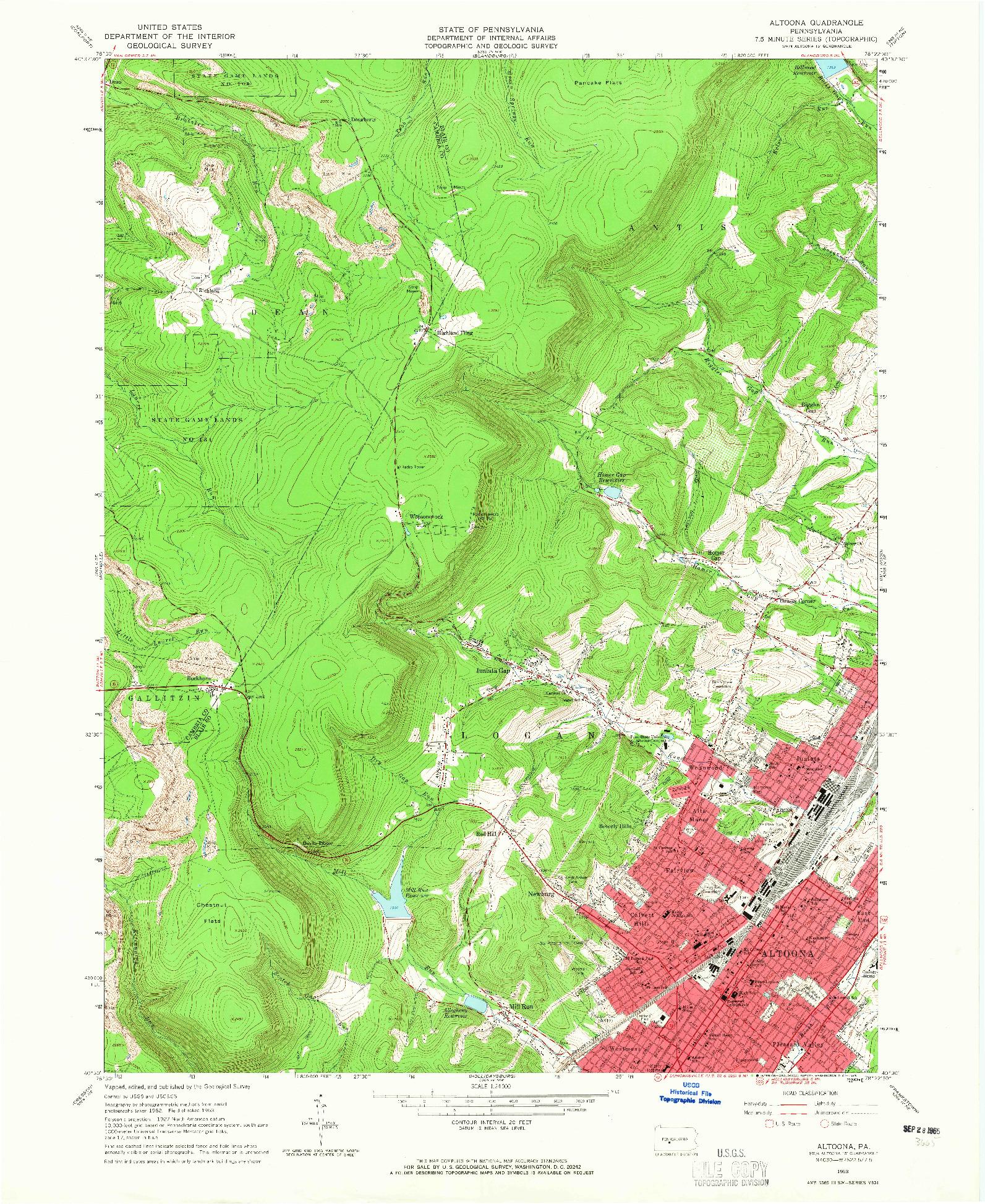 USGS 1:24000-SCALE QUADRANGLE FOR ALTOONA, PA 1963