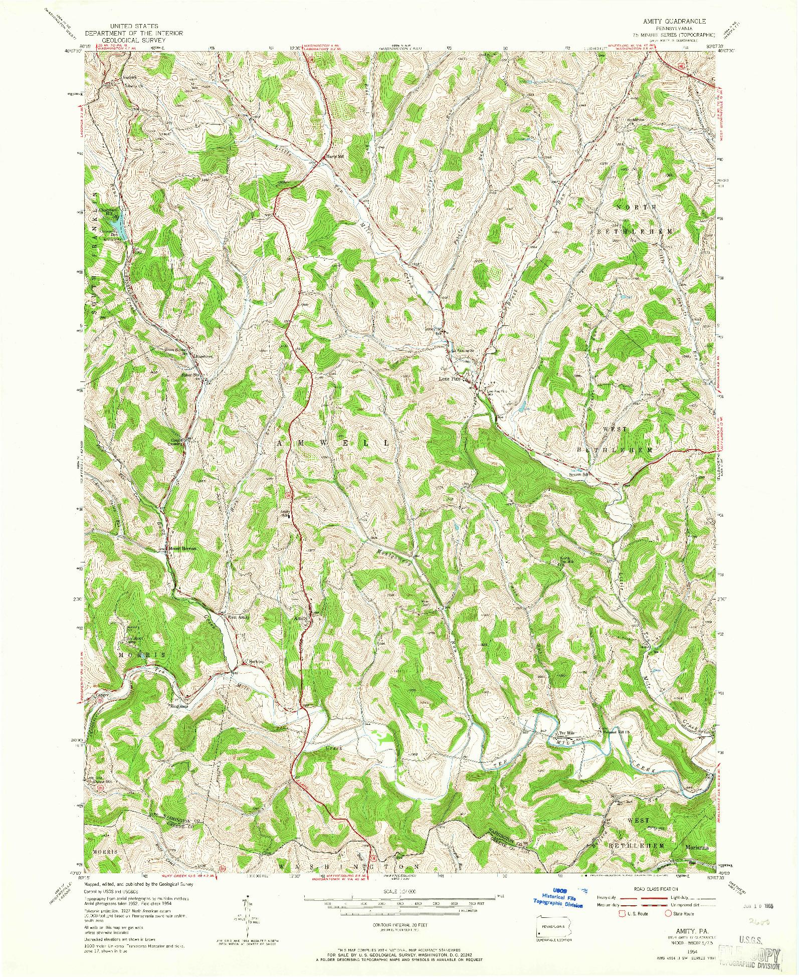 USGS 1:24000-SCALE QUADRANGLE FOR AMITY, PA 1954