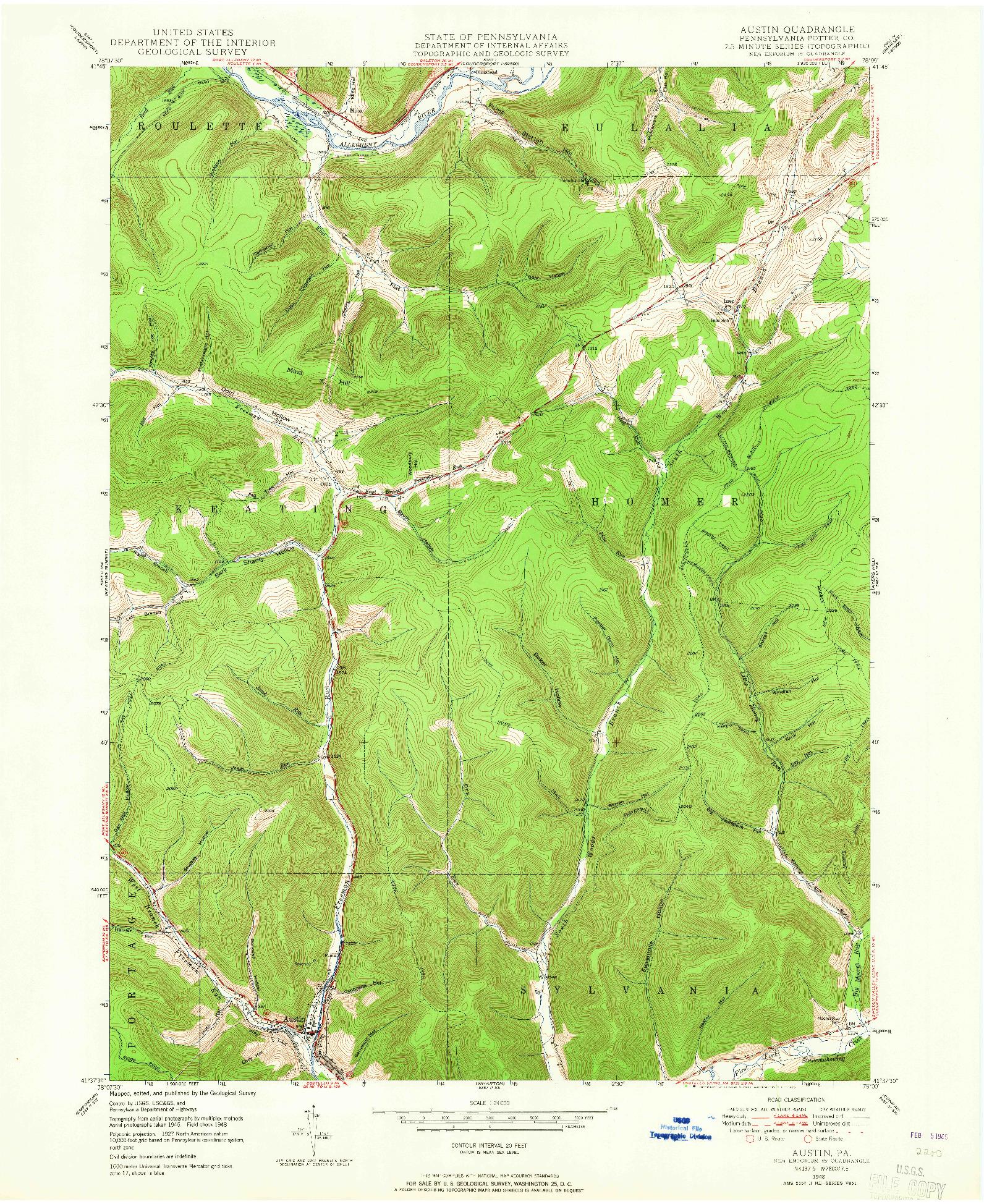USGS 1:24000-SCALE QUADRANGLE FOR AUSTIN, PA 1948