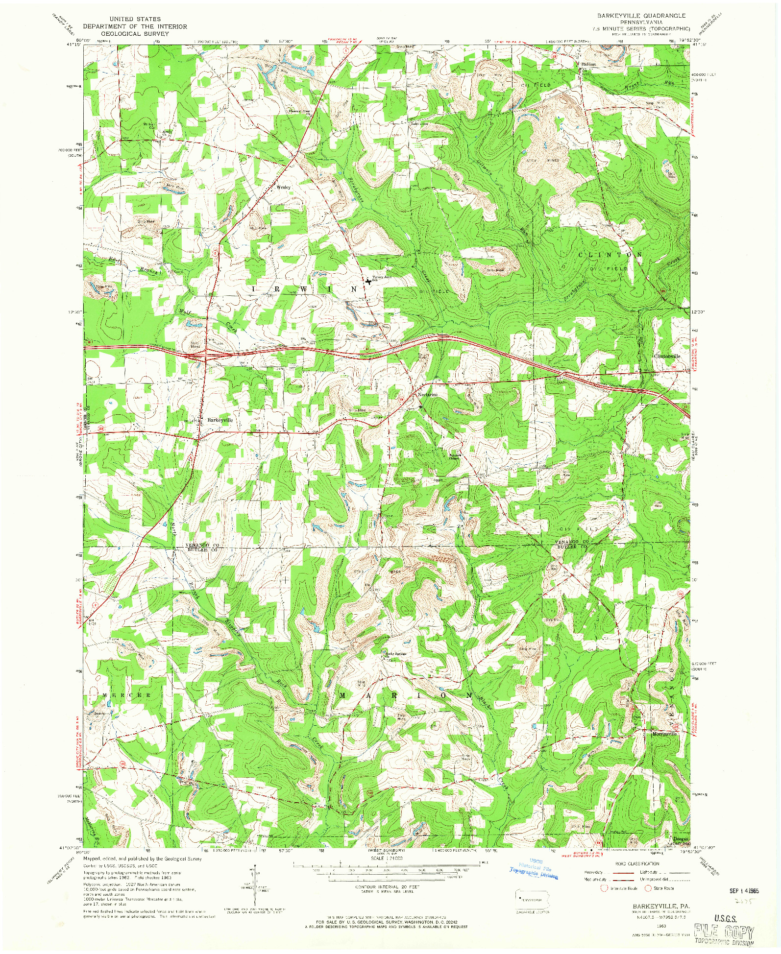 USGS 1:24000-SCALE QUADRANGLE FOR BARKEYVILLE, PA 1963
