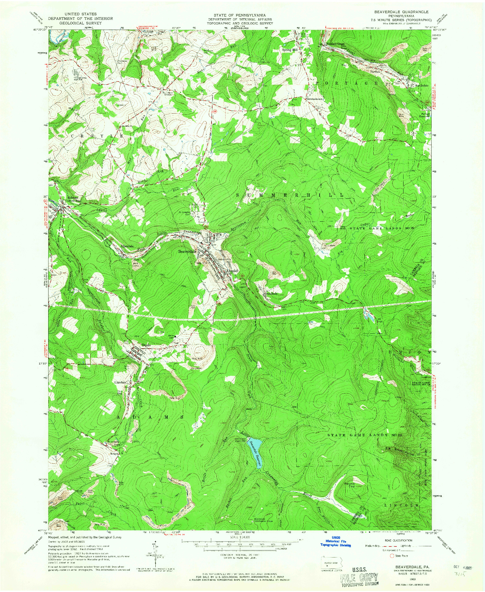 USGS 1:24000-SCALE QUADRANGLE FOR BEAVERDALE, PA 1963