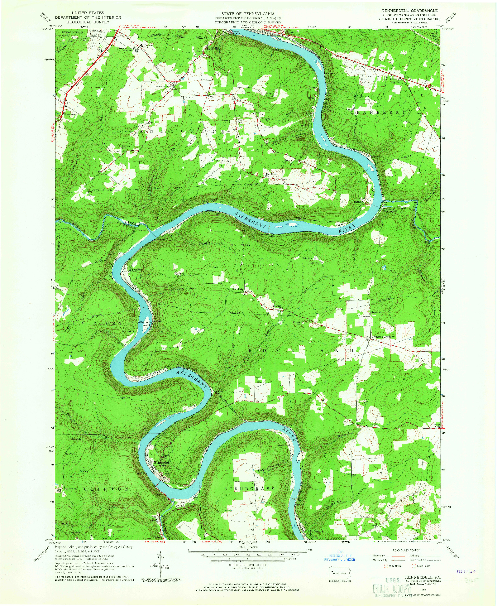 USGS 1:24000-SCALE QUADRANGLE FOR KENNERDELL, PA 1963