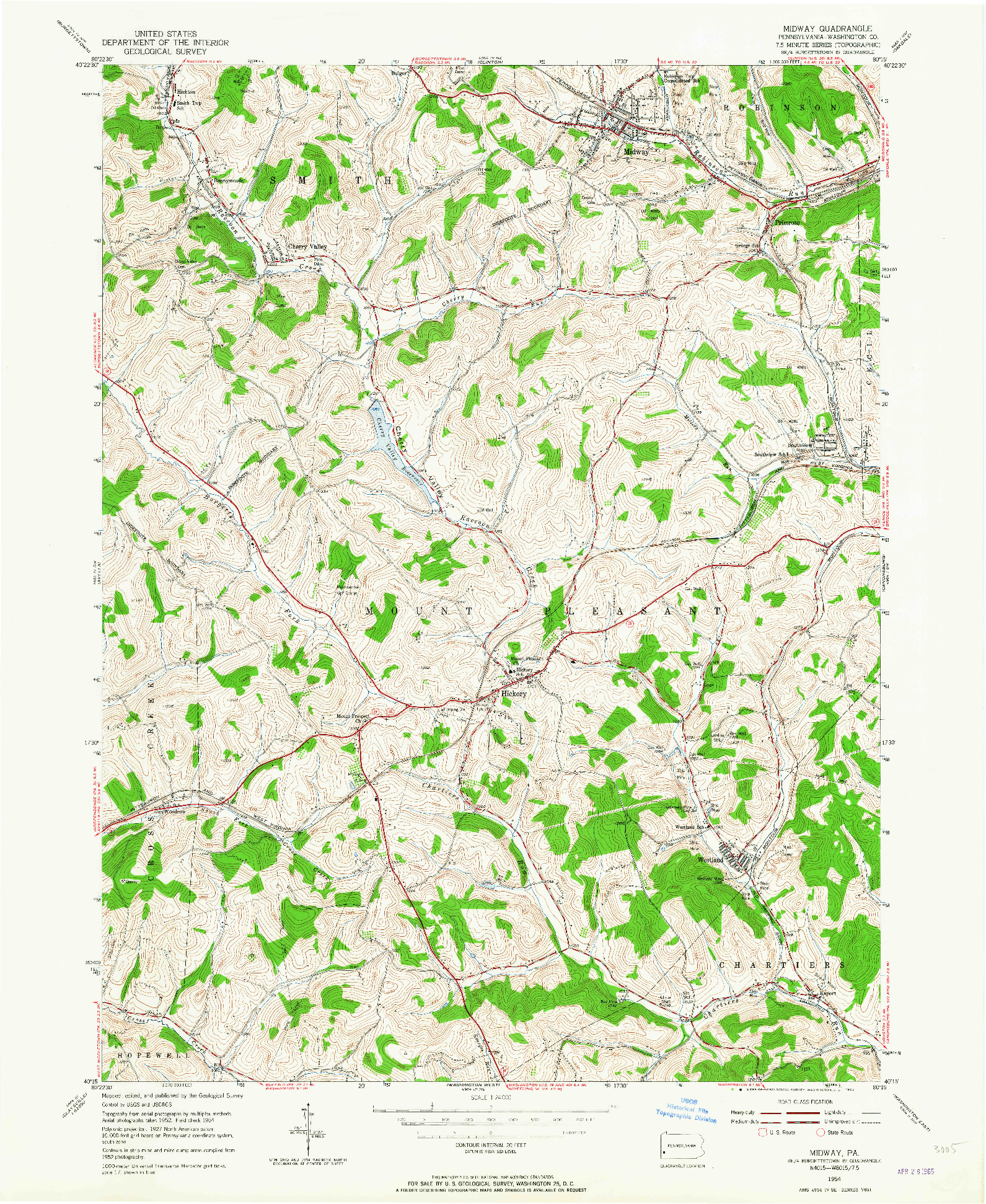 USGS 1:24000-SCALE QUADRANGLE FOR MIDWAY, PA 1954