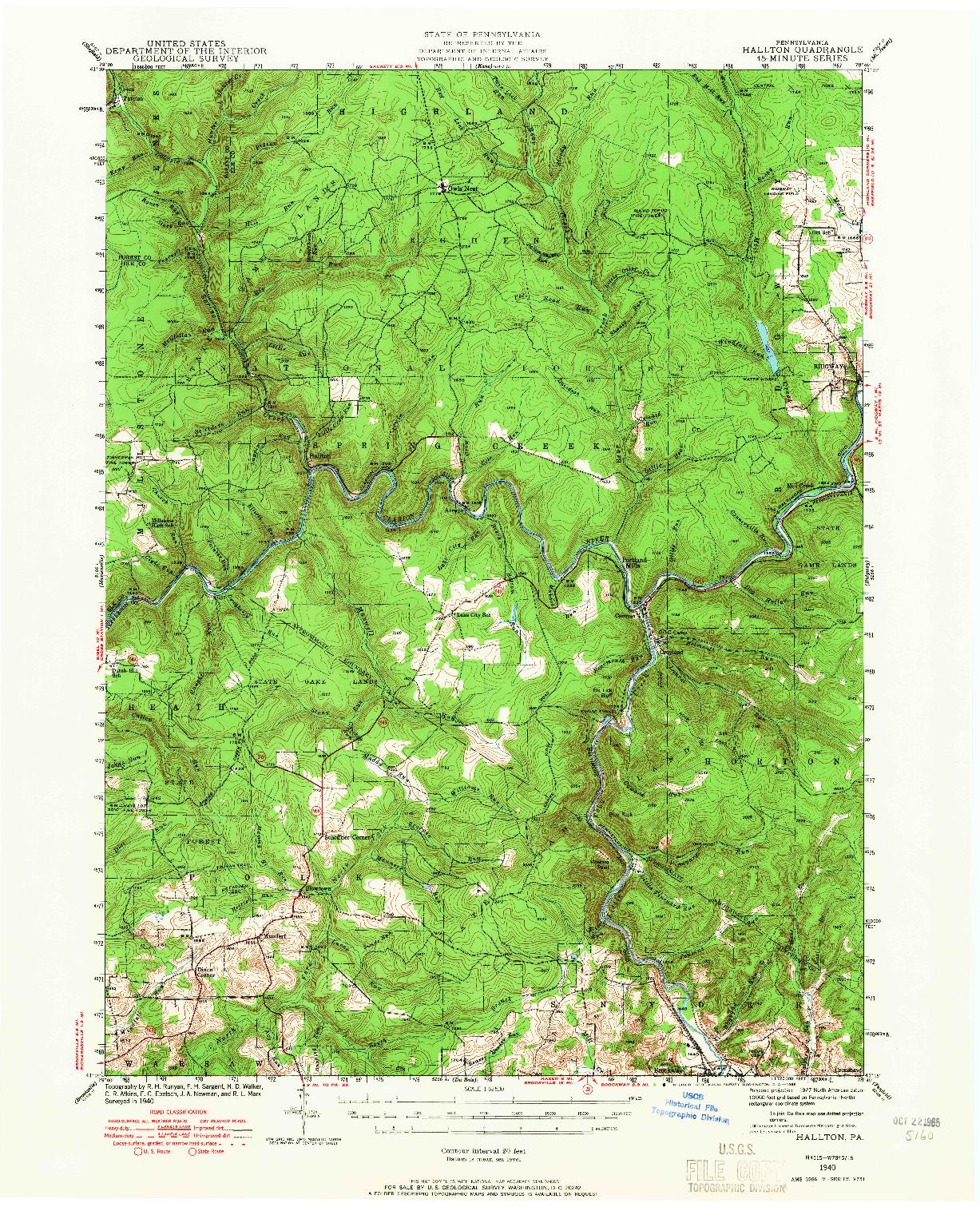 USGS 1:62500-SCALE QUADRANGLE FOR HALLTON, PA 1940