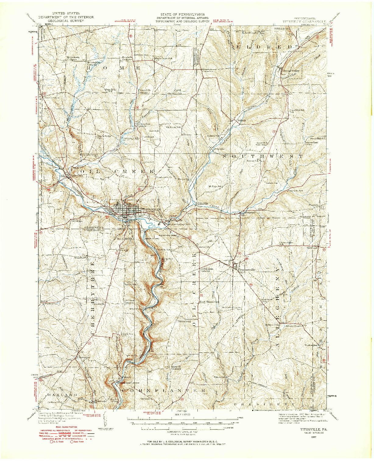 USGS 1:62500-SCALE QUADRANGLE FOR TITUSVILLE, PA 1927