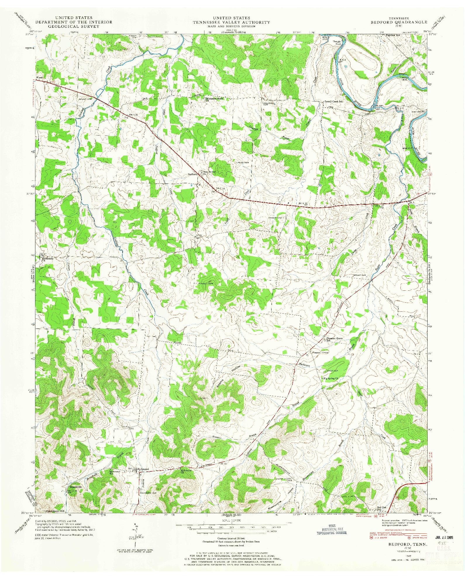 USGS 1:24000-SCALE QUADRANGLE FOR BEDFORD, TN 1947