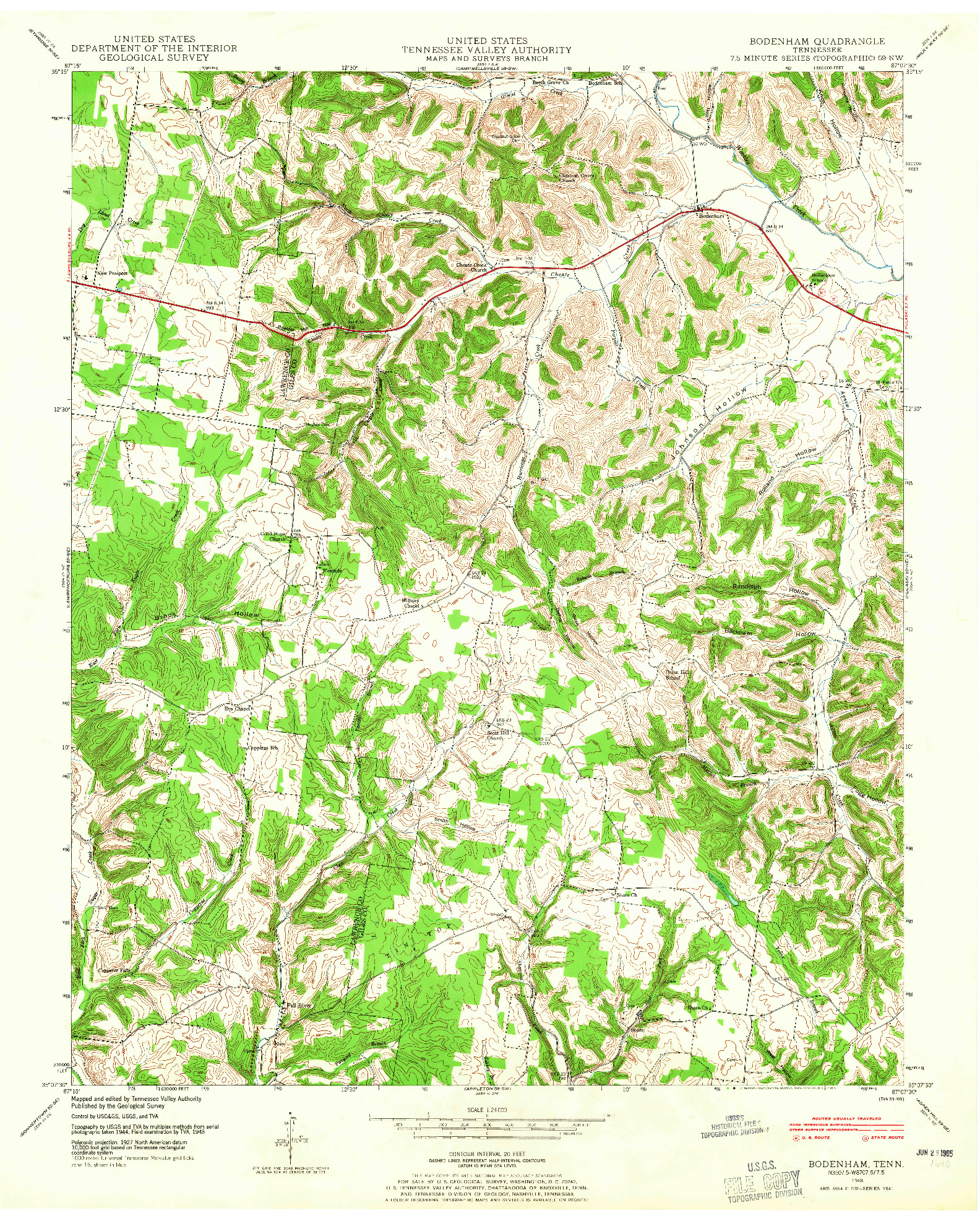 USGS 1:24000-SCALE QUADRANGLE FOR BODENHAM, TN 1948