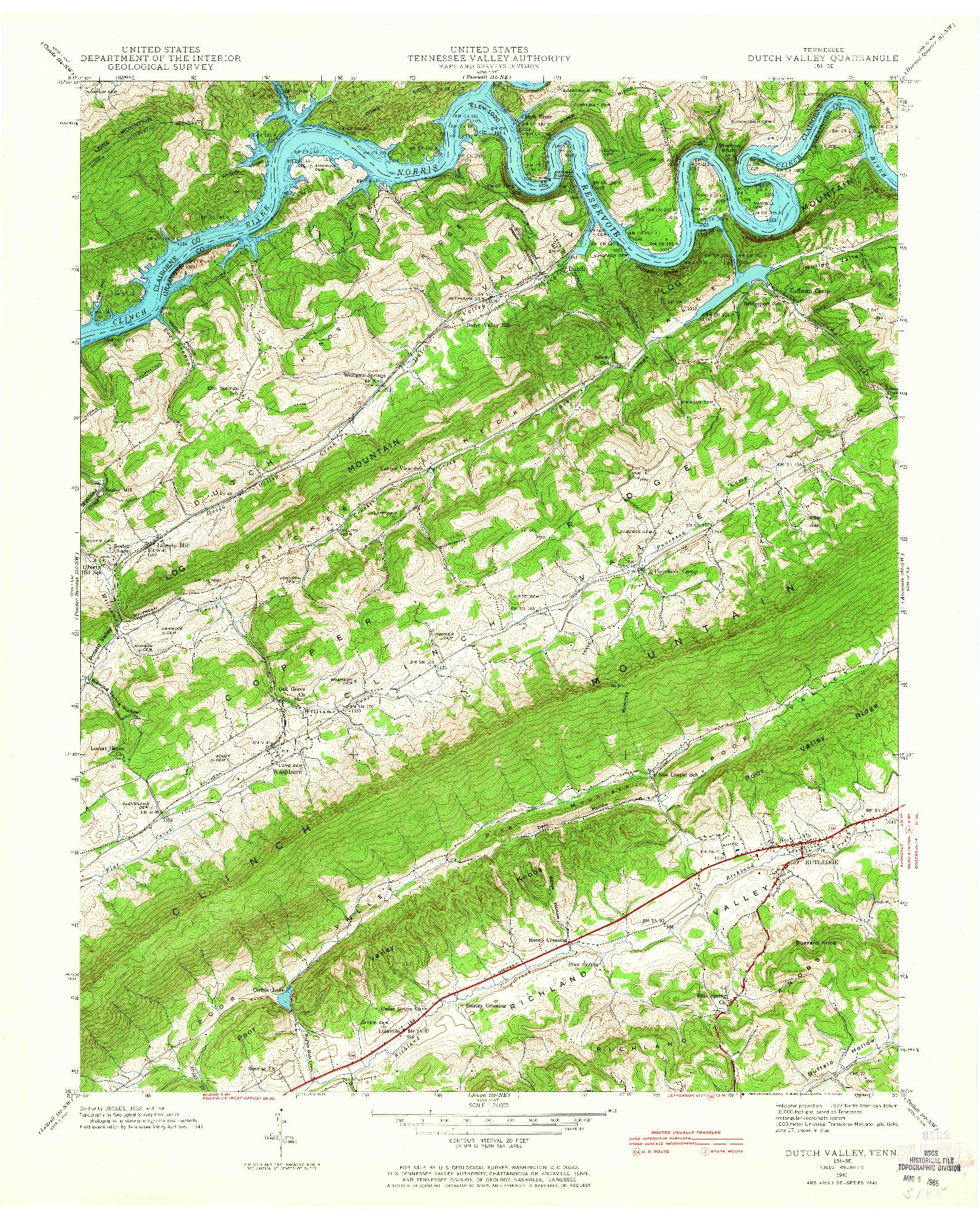 USGS 1:24000-SCALE QUADRANGLE FOR DUTCH VALLEY, TN 1941