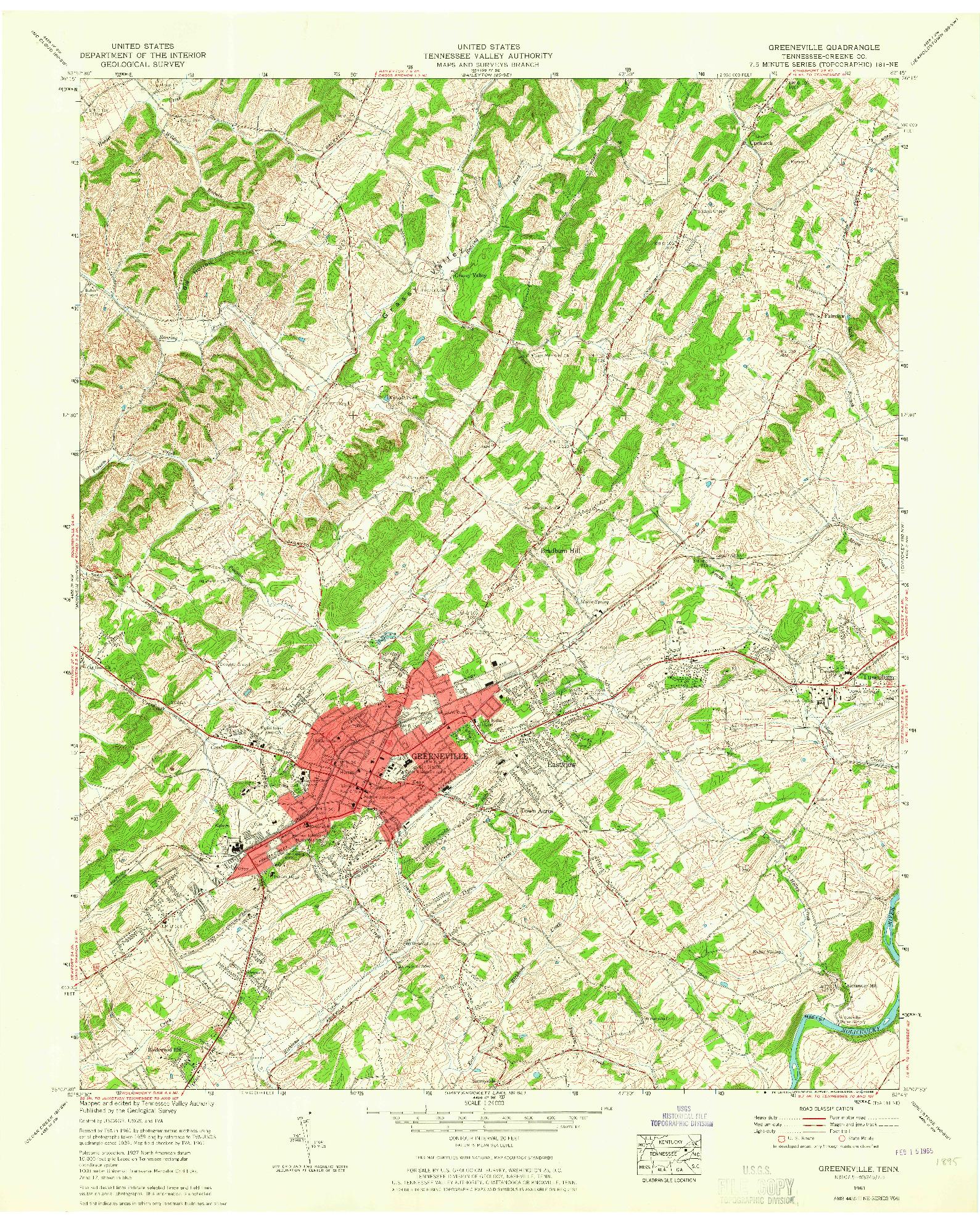 USGS 1:24000-SCALE QUADRANGLE FOR GREENEVILLE, TN 1961