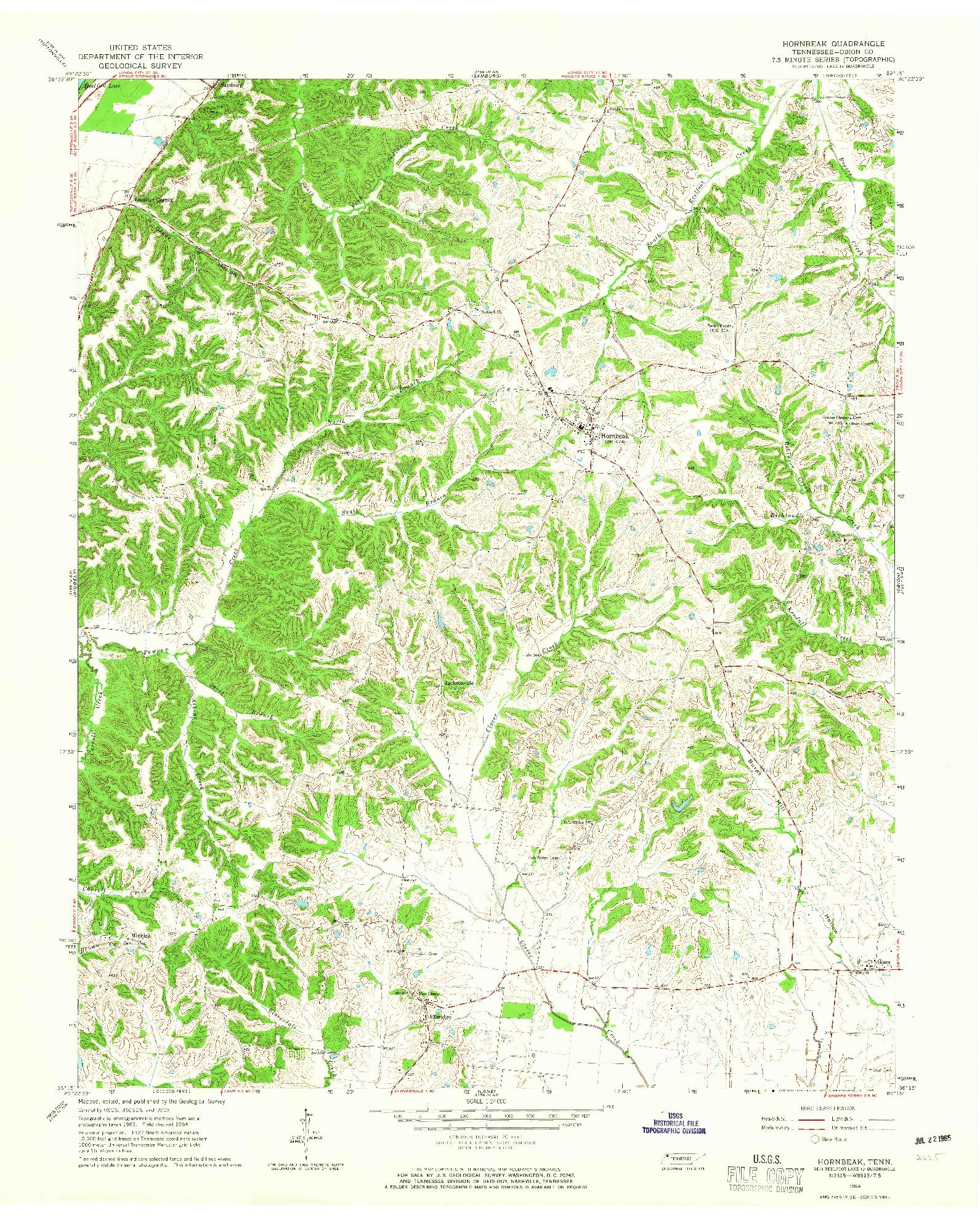 USGS 1:24000-SCALE QUADRANGLE FOR HORNBEAK, TN 1964