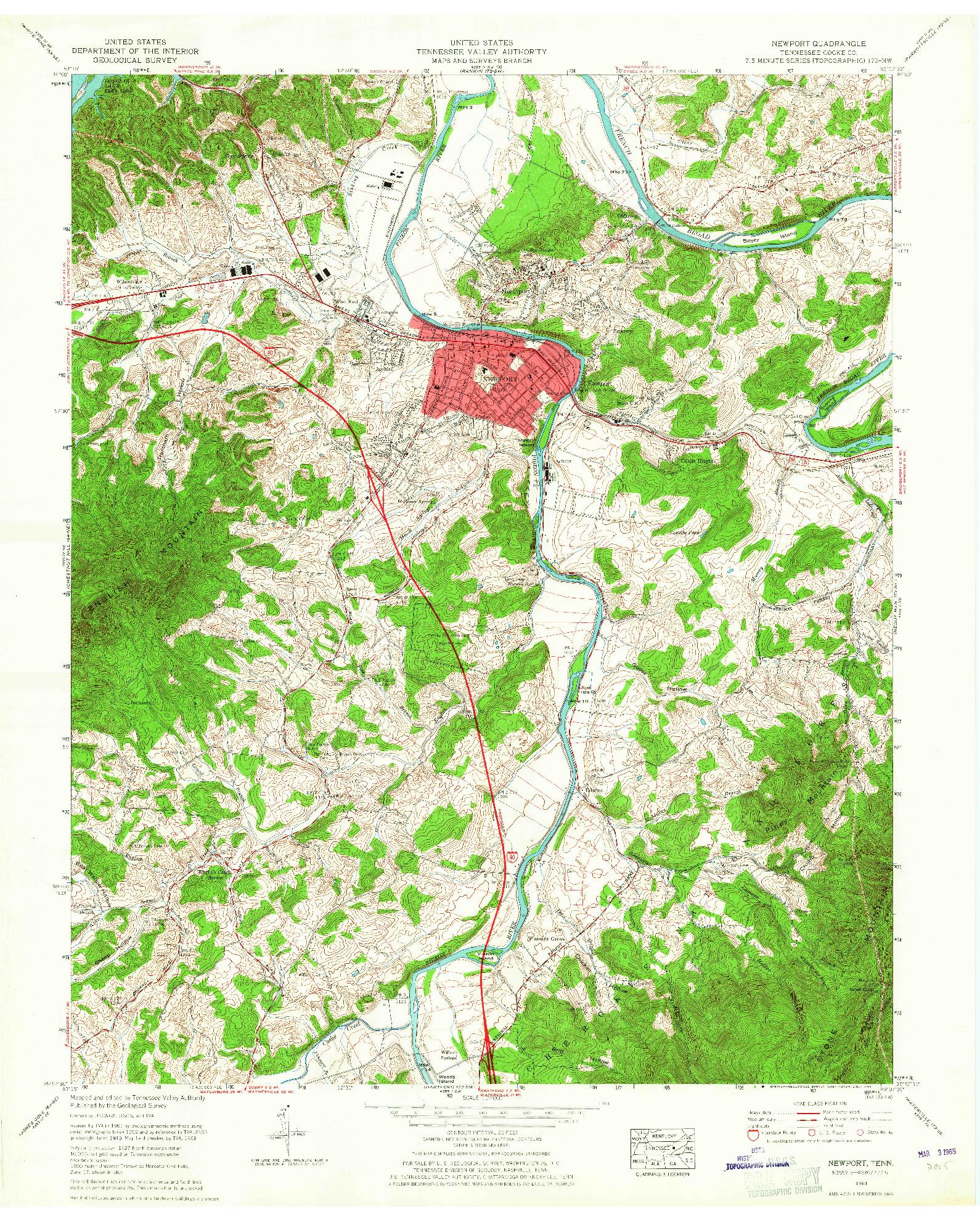 USGS 1:24000-SCALE QUADRANGLE FOR NEWPORT, TN 1961