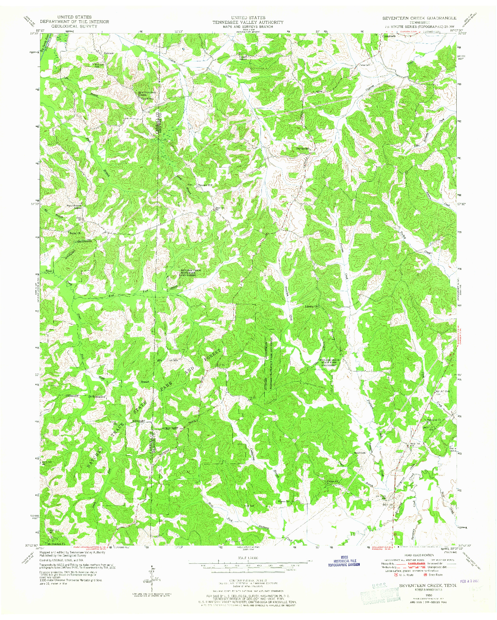 USGS 1:24000-SCALE QUADRANGLE FOR SEVENTEEN CREEK, TN 1950