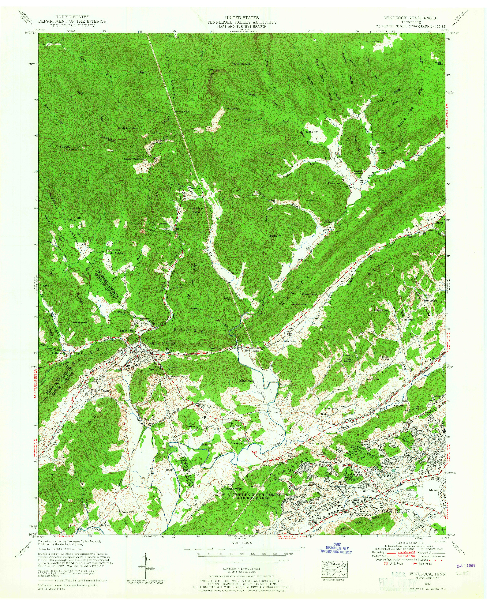 USGS 1:24000-SCALE QUADRANGLE FOR WINDROCK, TN 1952