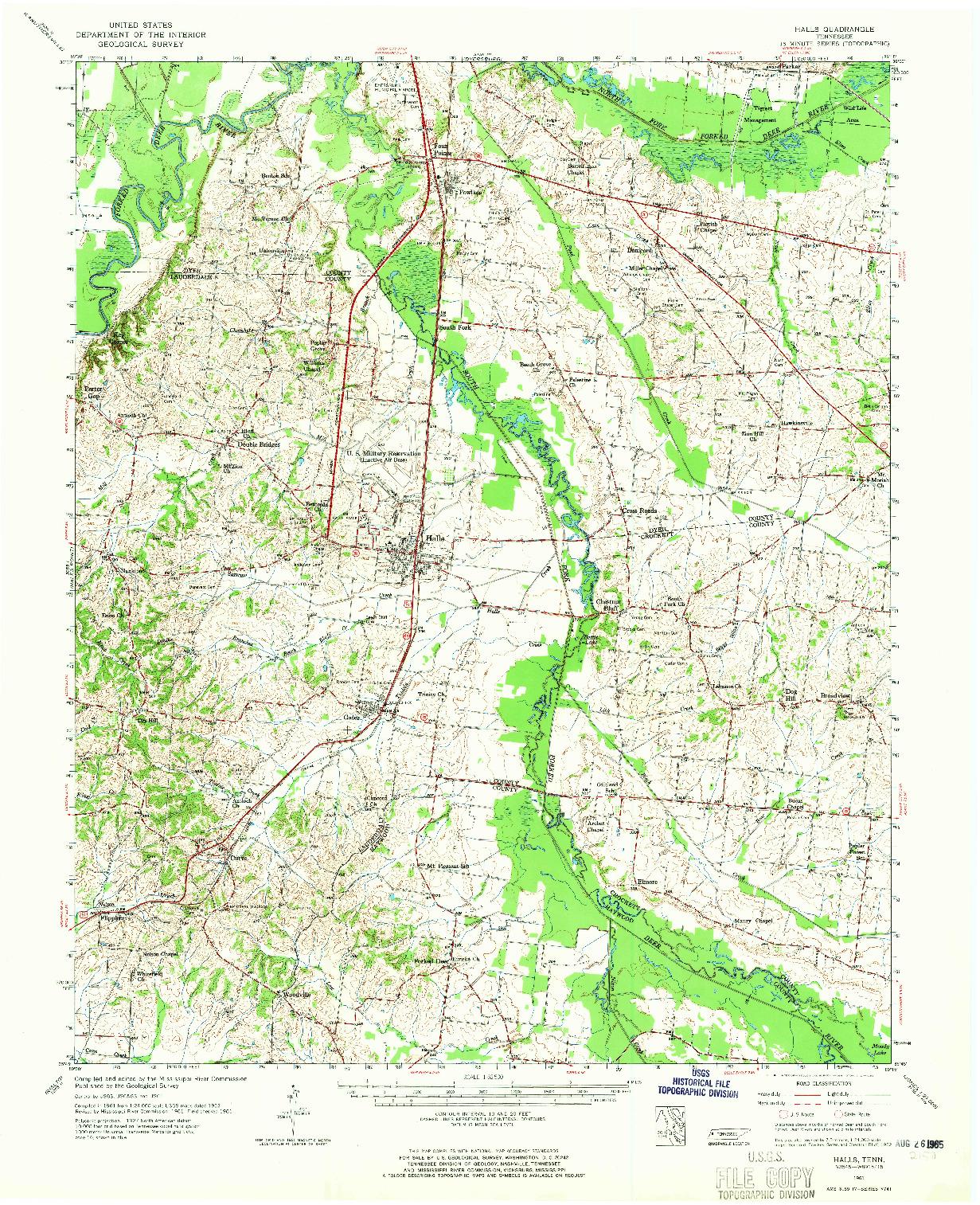USGS 1:62500-SCALE QUADRANGLE FOR HALLS, TN 1961
