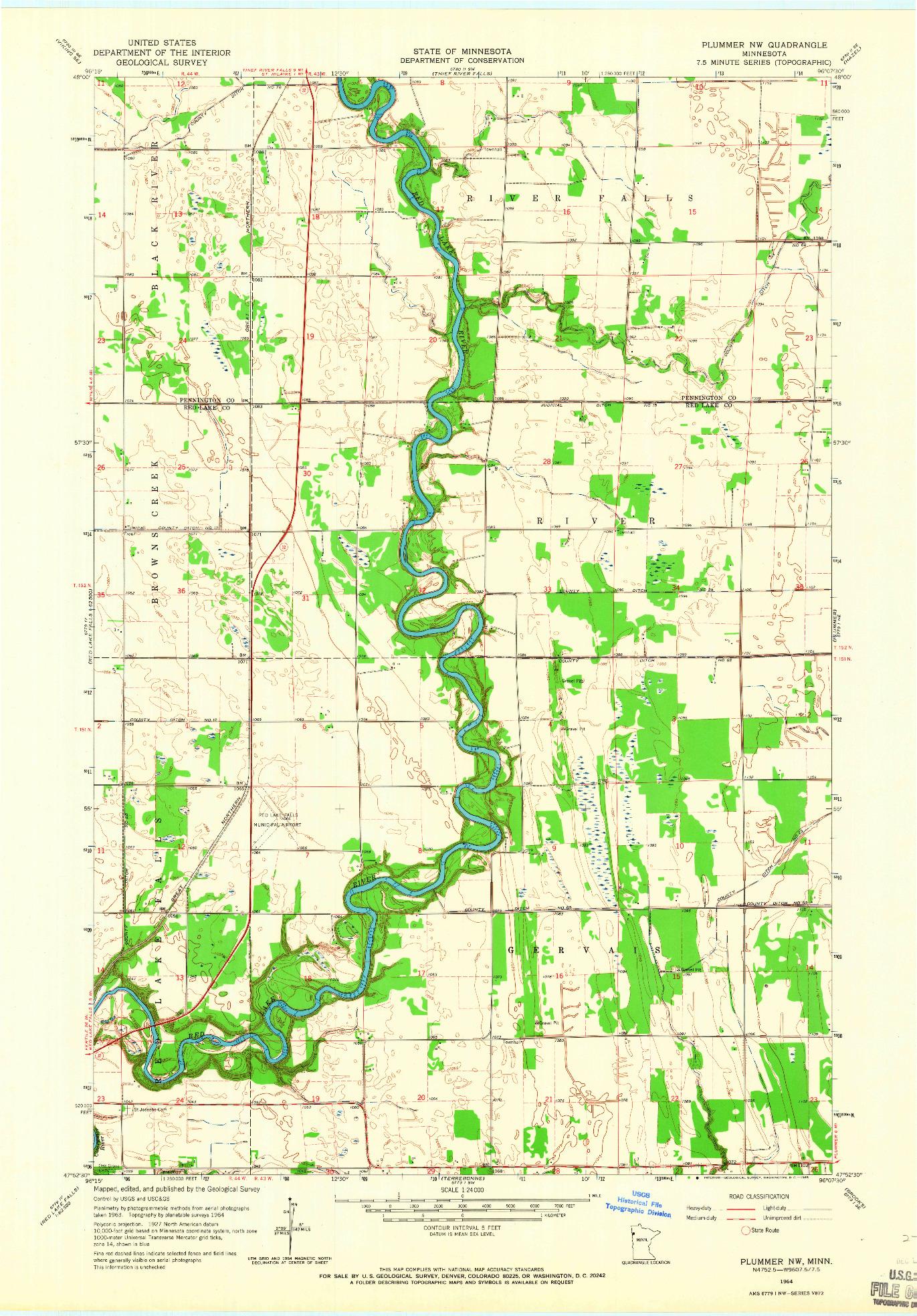 USGS 1:24000-SCALE QUADRANGLE FOR PLUMMER NW, MN 1964