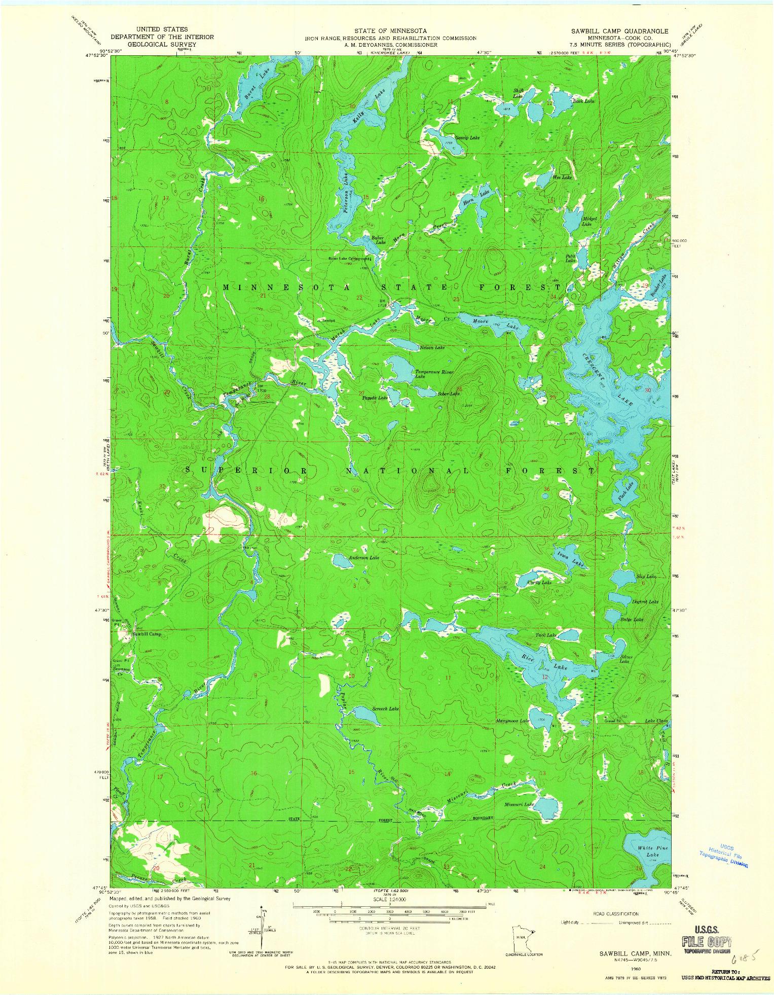 USGS 1:24000-SCALE QUADRANGLE FOR SAWBILL CAMP, MN 1960