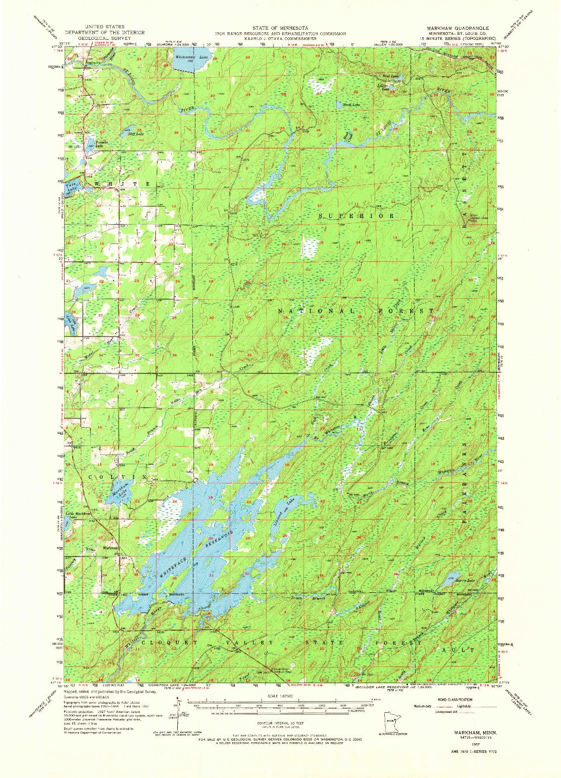 USGS 1:62500-SCALE QUADRANGLE FOR MARKHAM, MN 1957