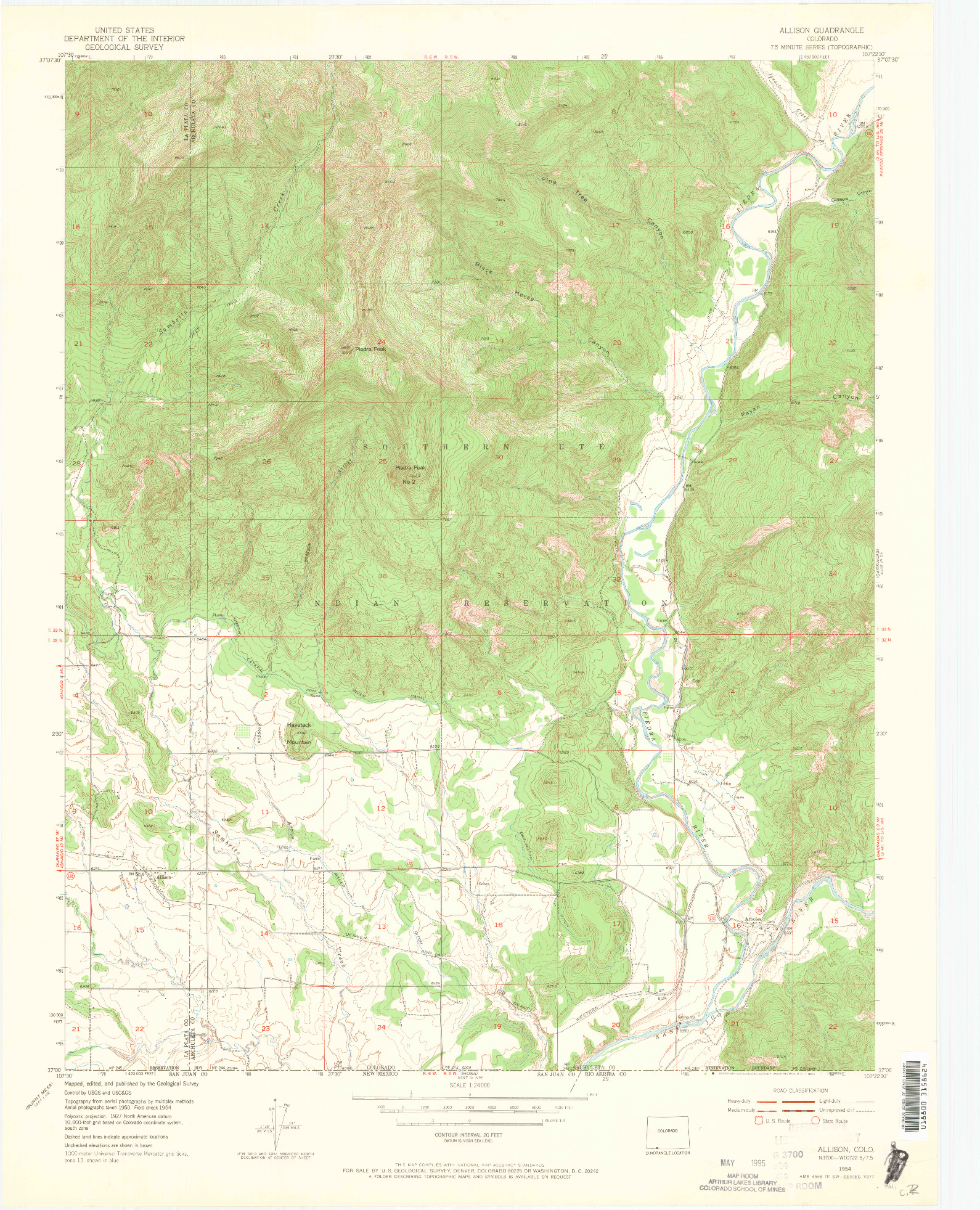 USGS 1:24000-SCALE QUADRANGLE FOR ALLISON, CO 1954