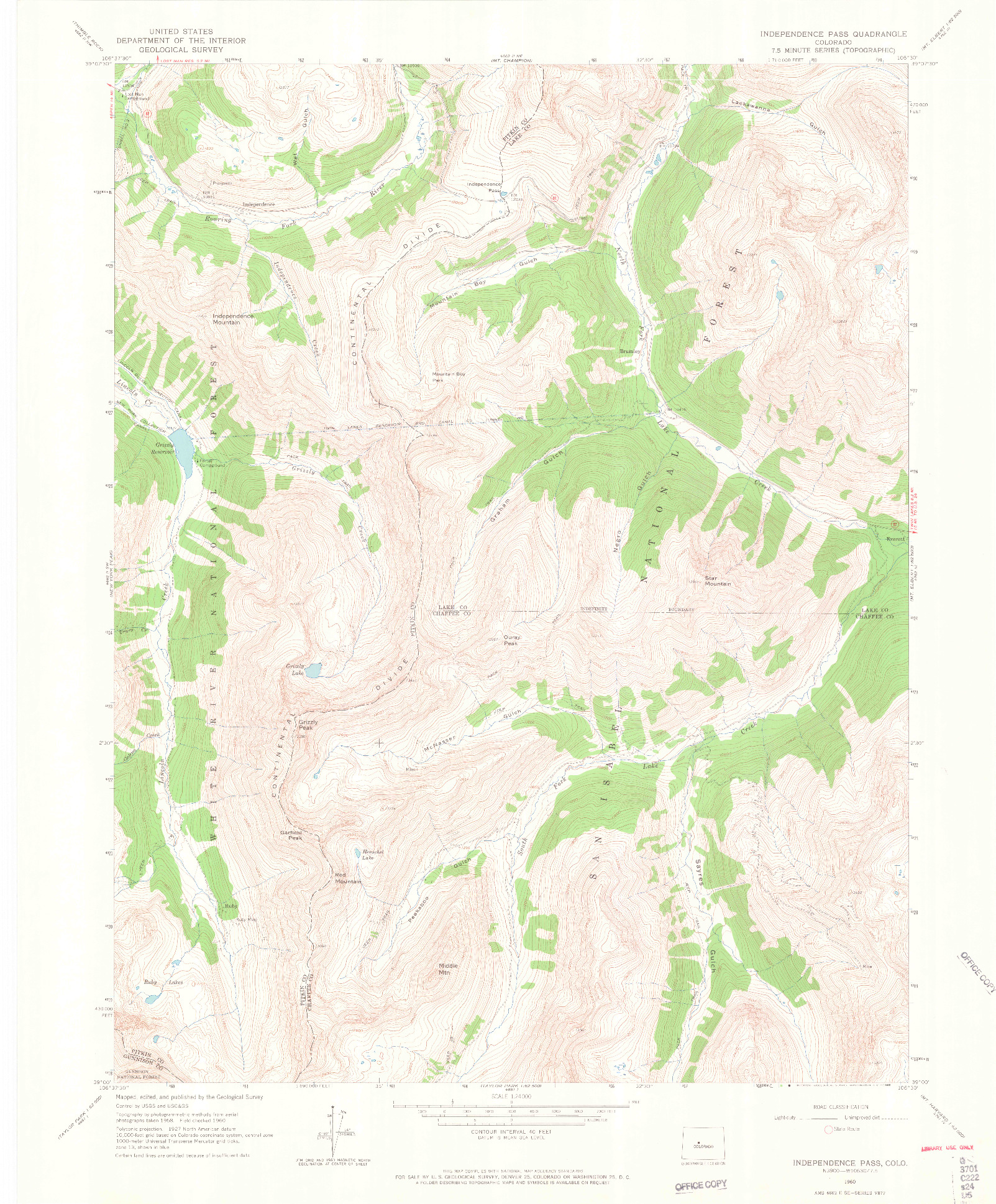 USGS 1:24000-SCALE QUADRANGLE FOR INDEPENDENCE PASS, CO 1960