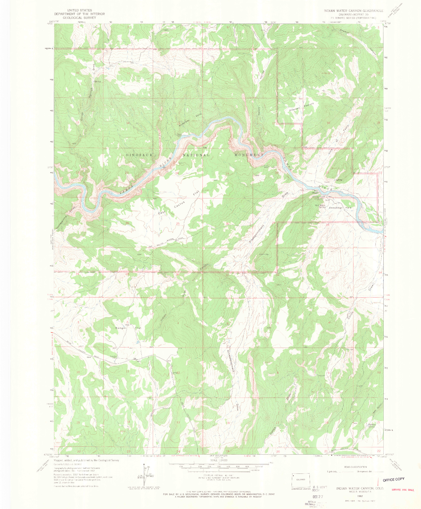 USGS 1:24000-SCALE QUADRANGLE FOR INDIAN WATER CANYON, CO 1962