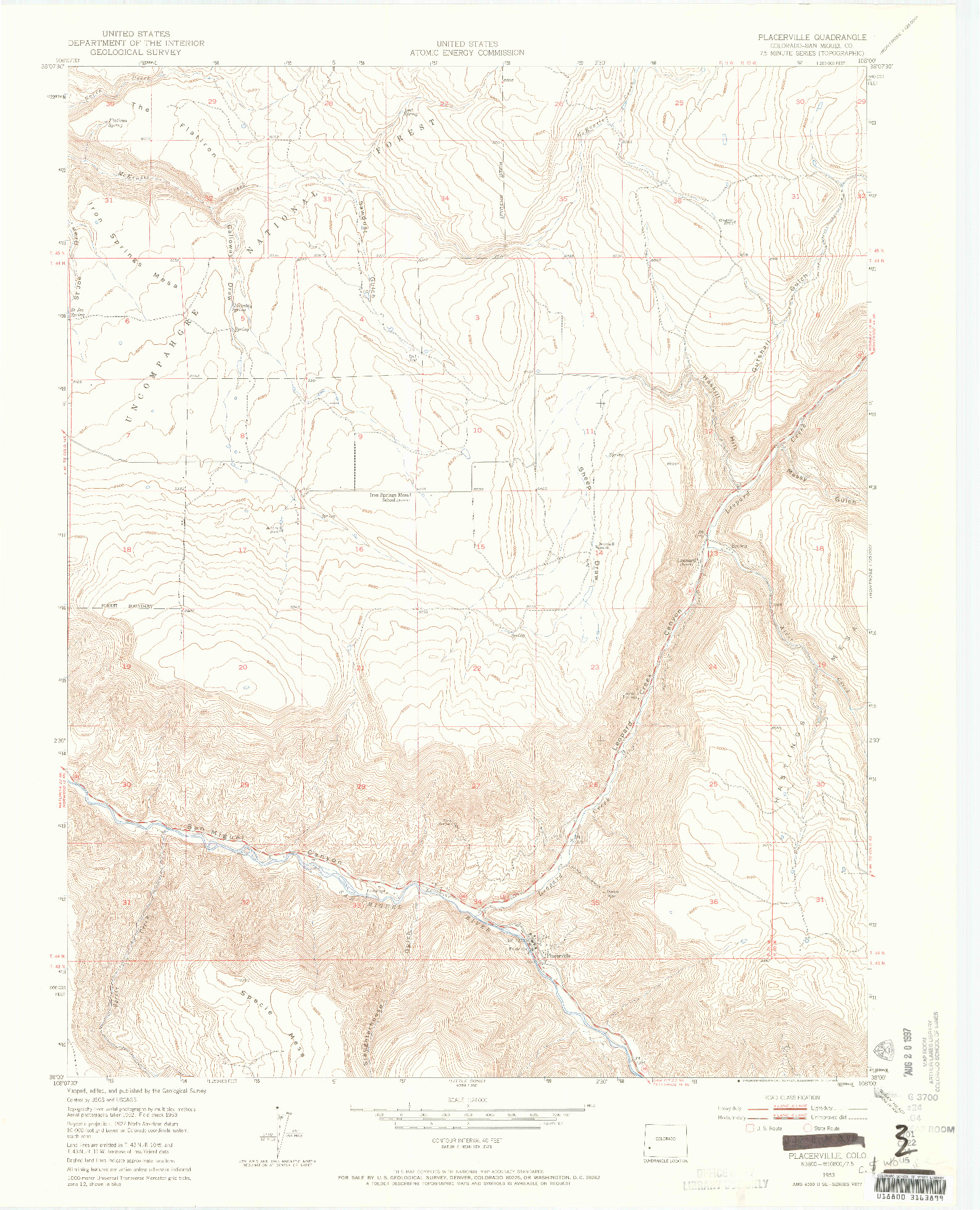 USGS 1:24000-SCALE QUADRANGLE FOR PLACERVILLE, CO 1953