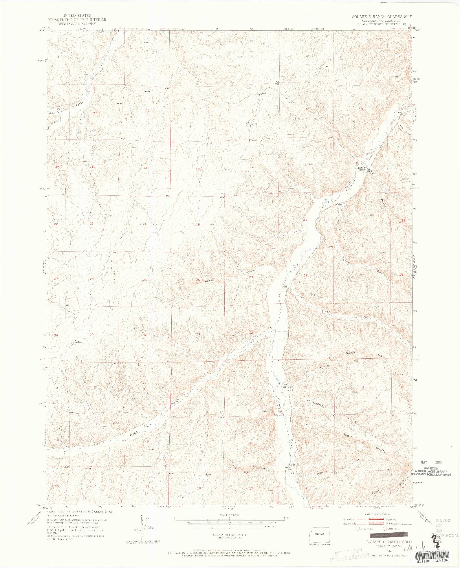 USGS 1:24000-SCALE QUADRANGLE FOR SQUARE S RANCH, CO 1952