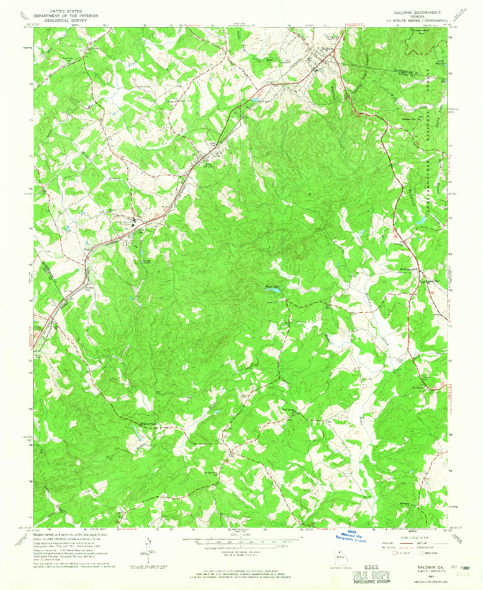 USGS 1:24000-SCALE QUADRANGLE FOR BALDWIN, GA 1964