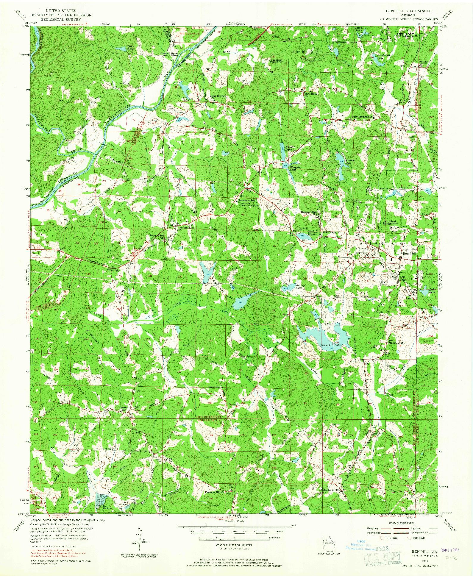 USGS 1:24000-SCALE QUADRANGLE FOR BEN HILL, GA 1954