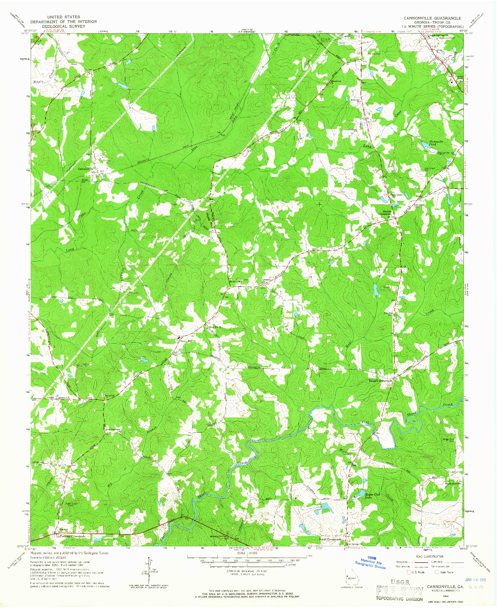 USGS 1:24000-SCALE QUADRANGLE FOR CANNONVILLE, GA 1964