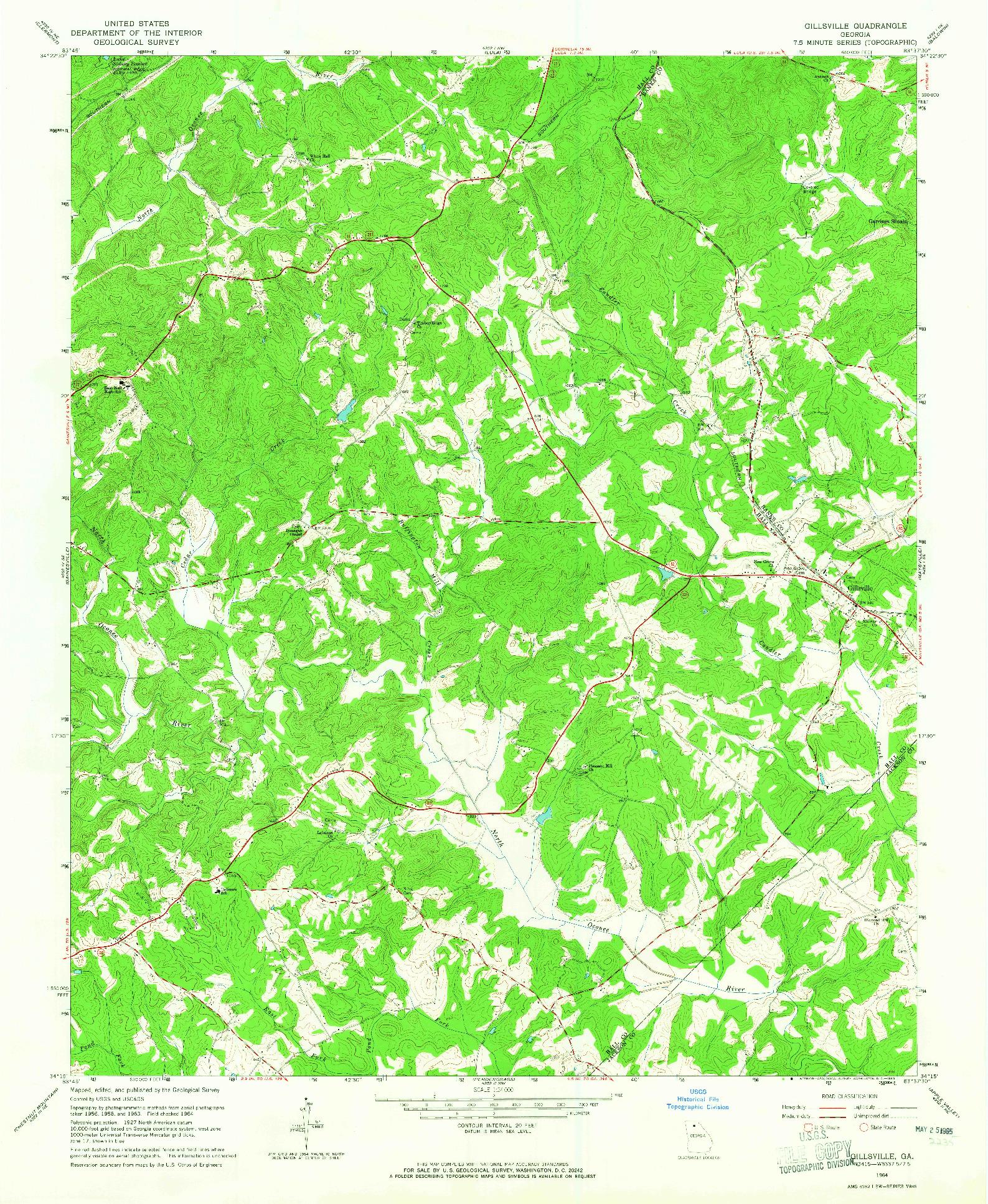 USGS 1:24000-SCALE QUADRANGLE FOR GILLSVILLE, GA 1964