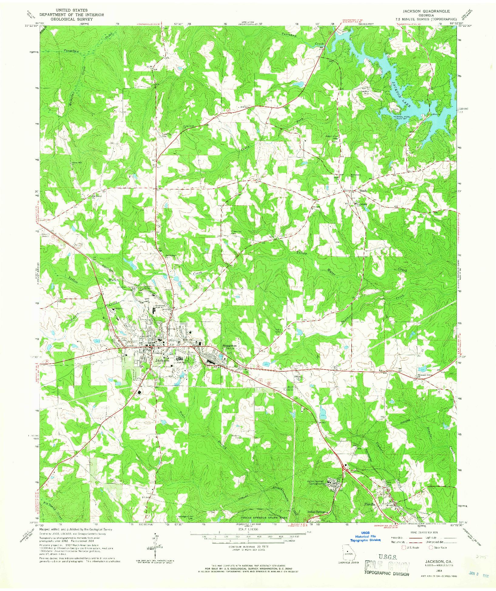 USGS 1:24000-SCALE QUADRANGLE FOR JACKSON, GA 1964