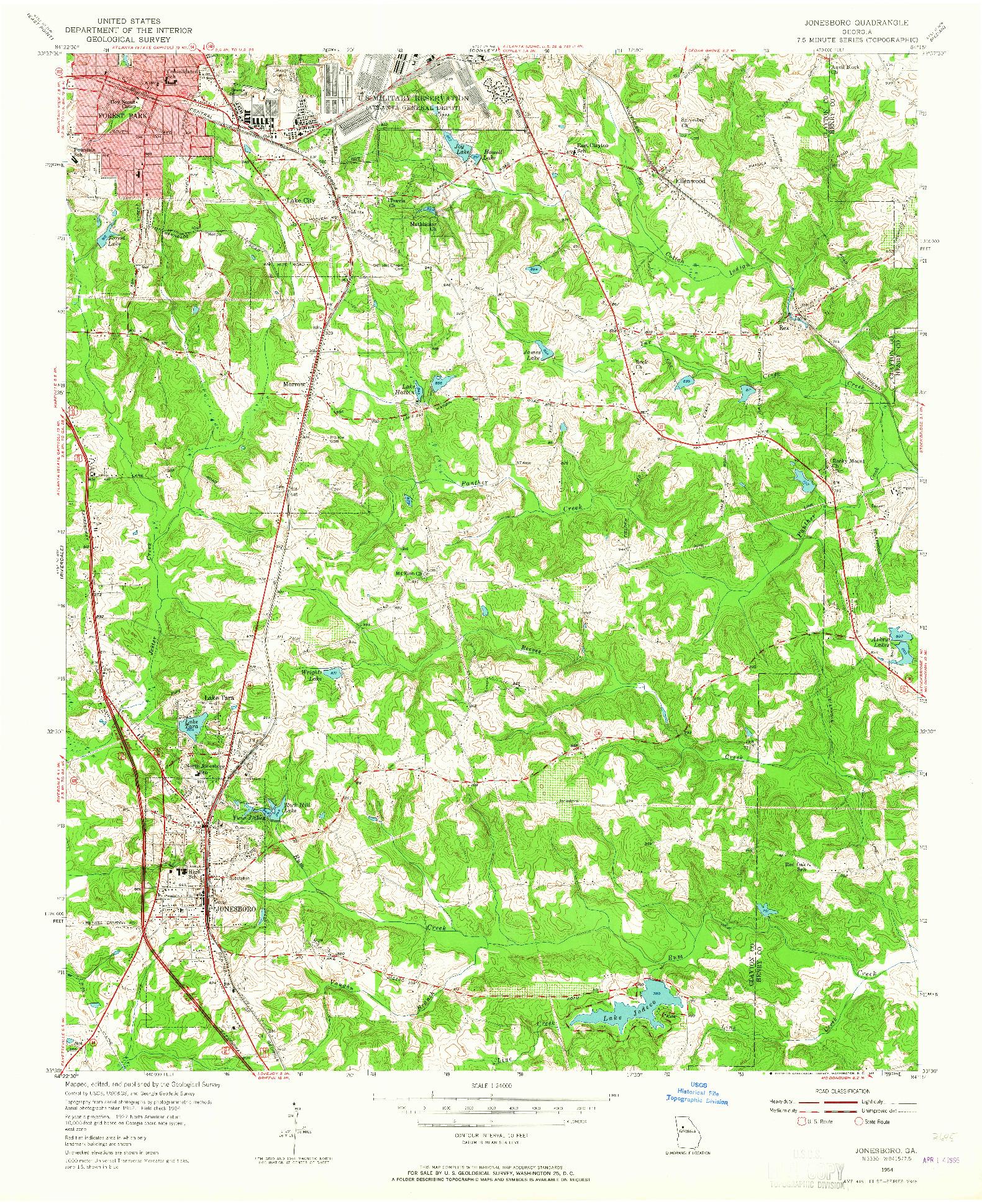 USGS 1:24000-SCALE QUADRANGLE FOR JONESBORO, GA 1954