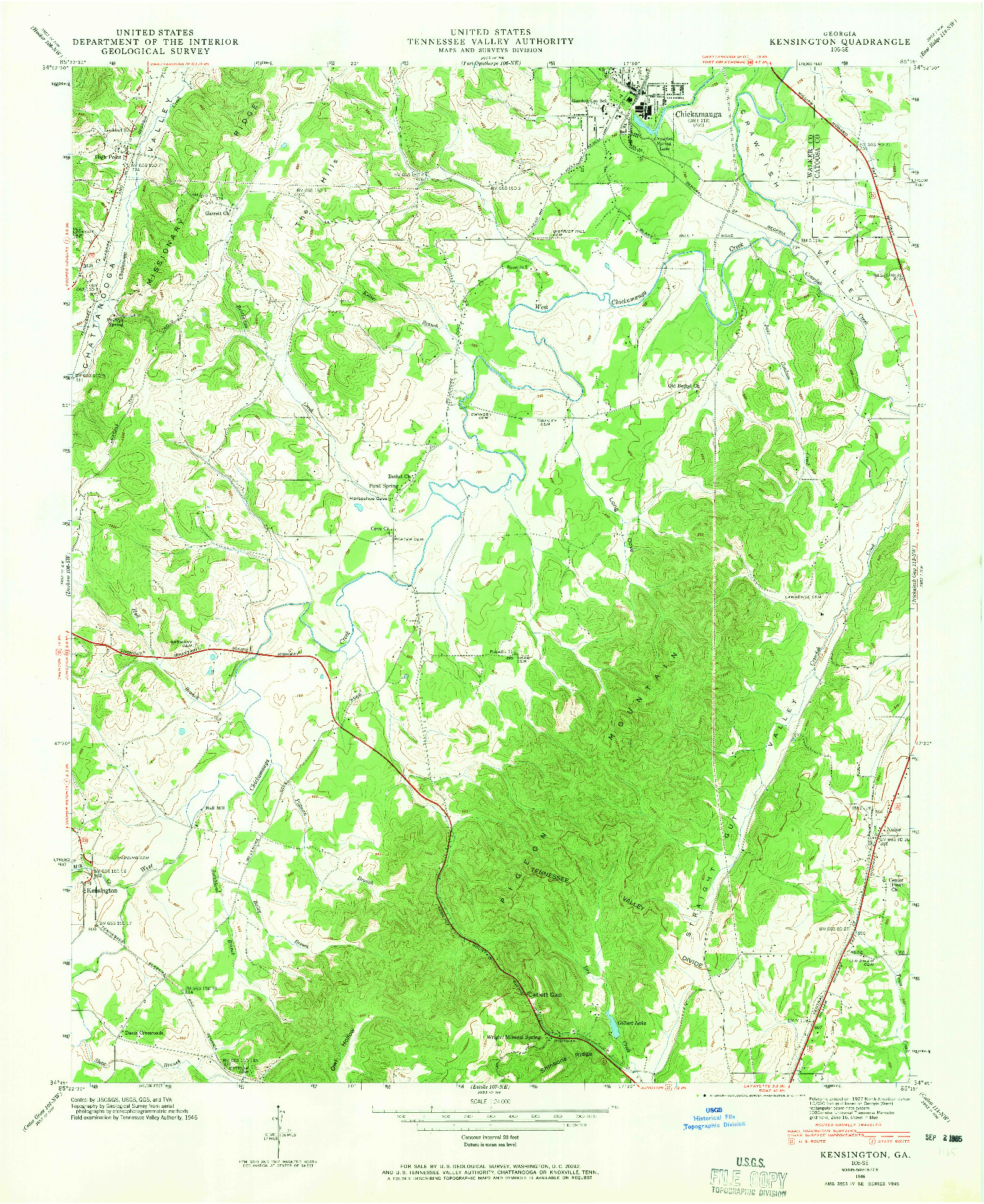 USGS 1:24000-SCALE QUADRANGLE FOR KENSINGTON, GA 1946