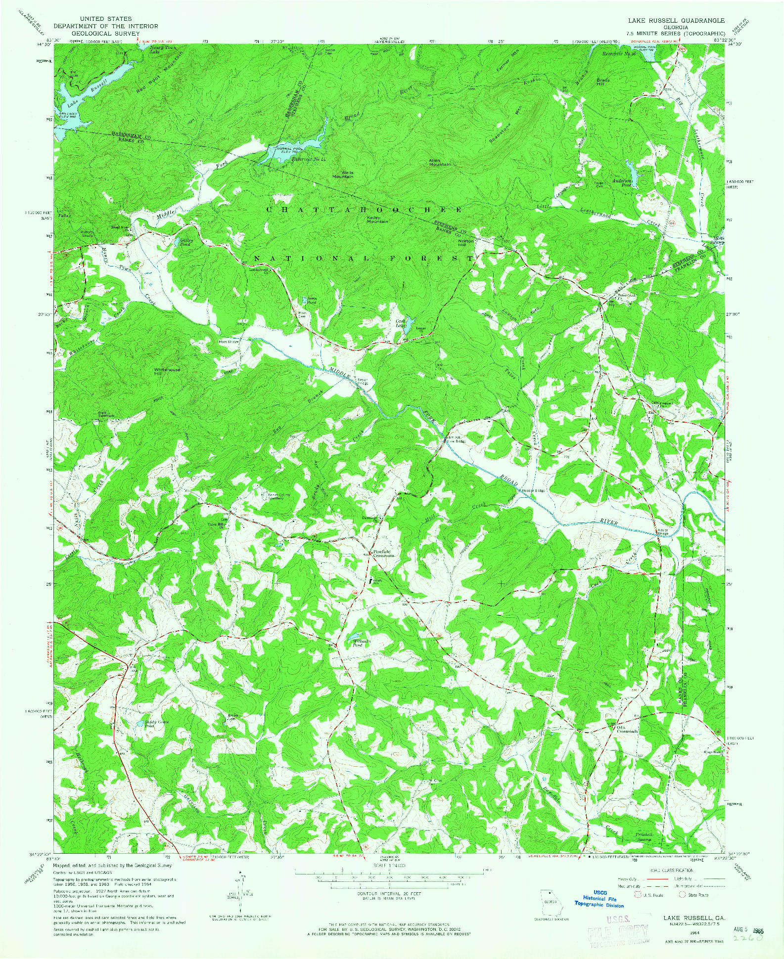USGS 1:24000-SCALE QUADRANGLE FOR LAKE RUSSELL, GA 1964