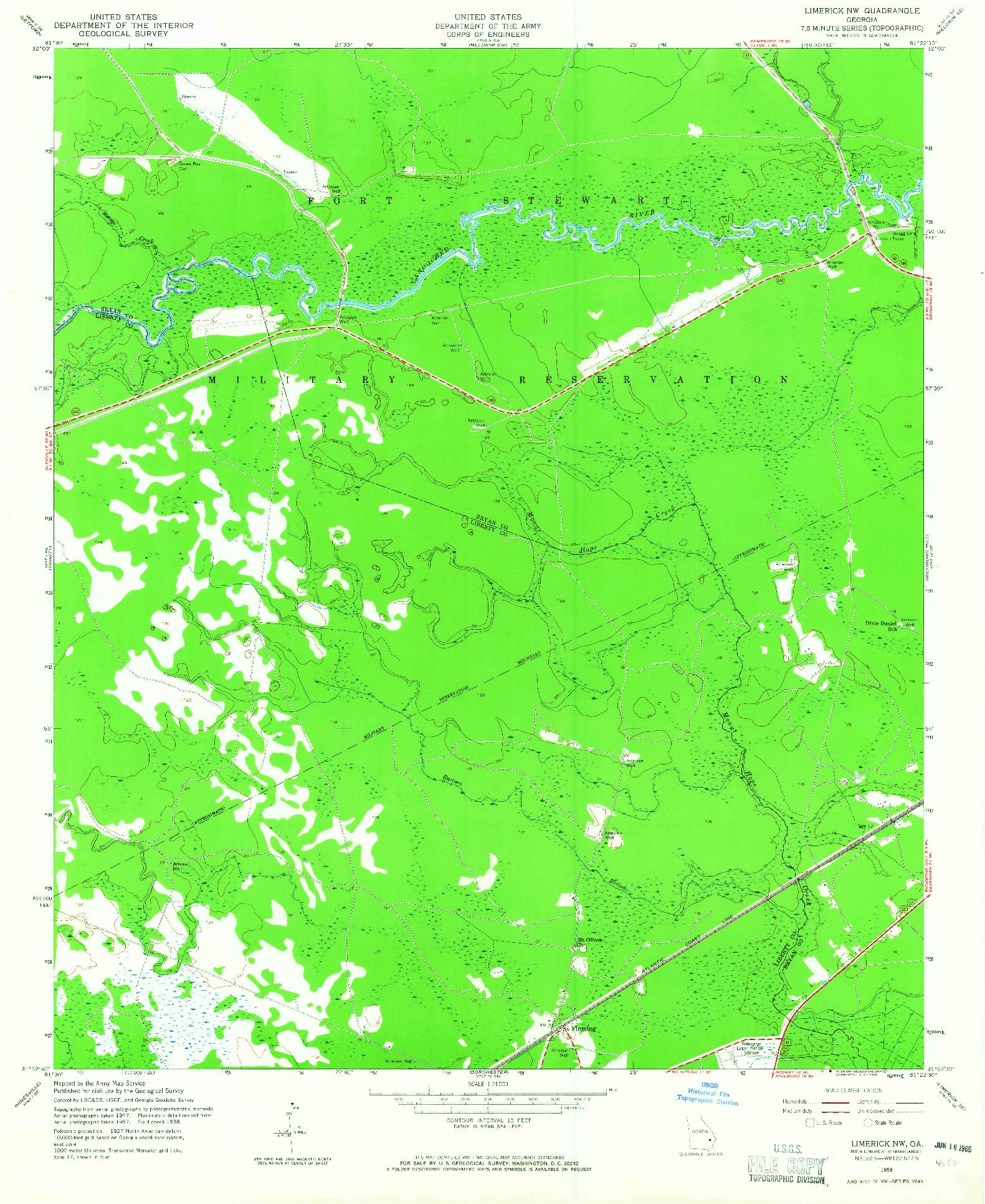 USGS 1:24000-SCALE QUADRANGLE FOR LIMERICK NW, GA 1958