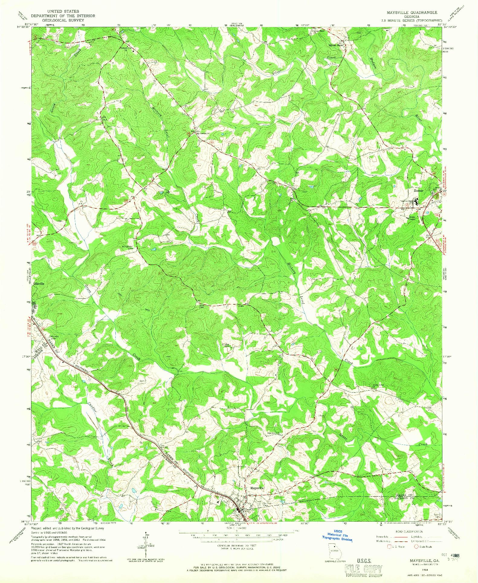 USGS 1:24000-SCALE QUADRANGLE FOR MAYSVILLE, GA 1964