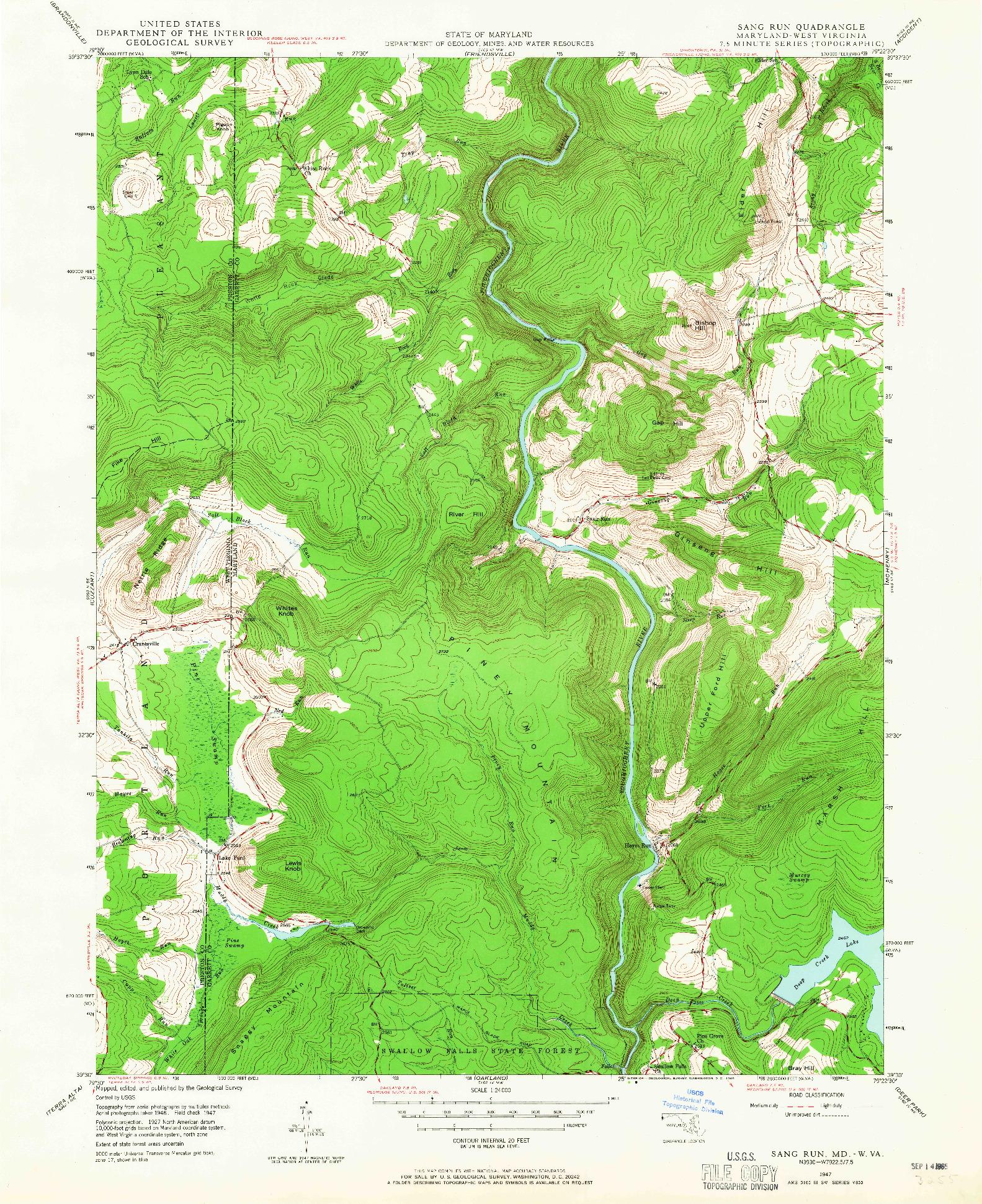 USGS 1:24000-SCALE QUADRANGLE FOR SANG RUN, MD 1947