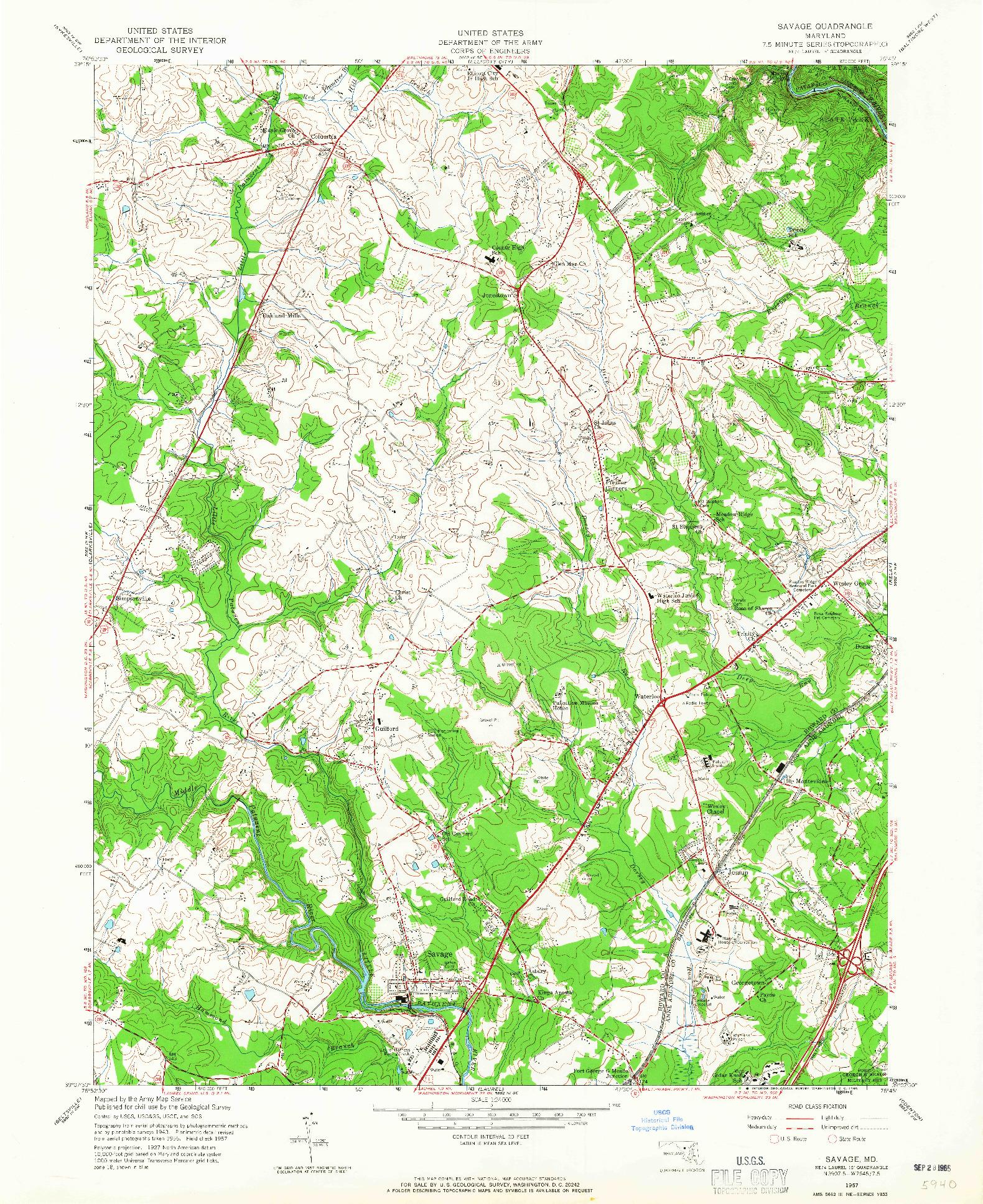 USGS 1:24000-SCALE QUADRANGLE FOR SAVAGE, MD 1957