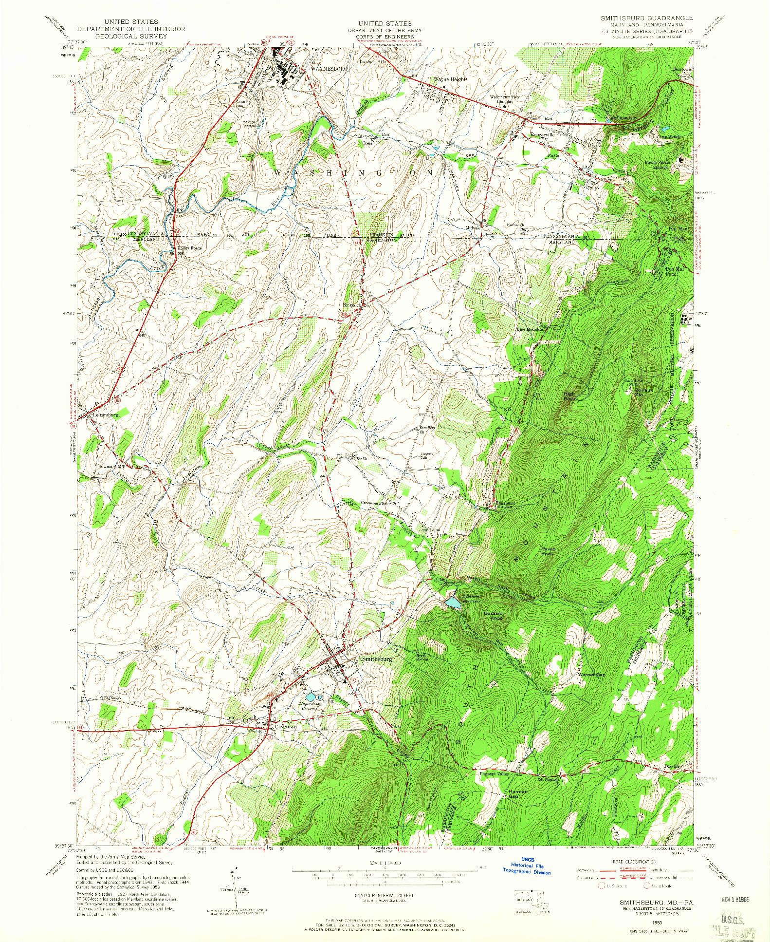 USGS 1:24000-SCALE QUADRANGLE FOR SMITHSBURG, MD 1953