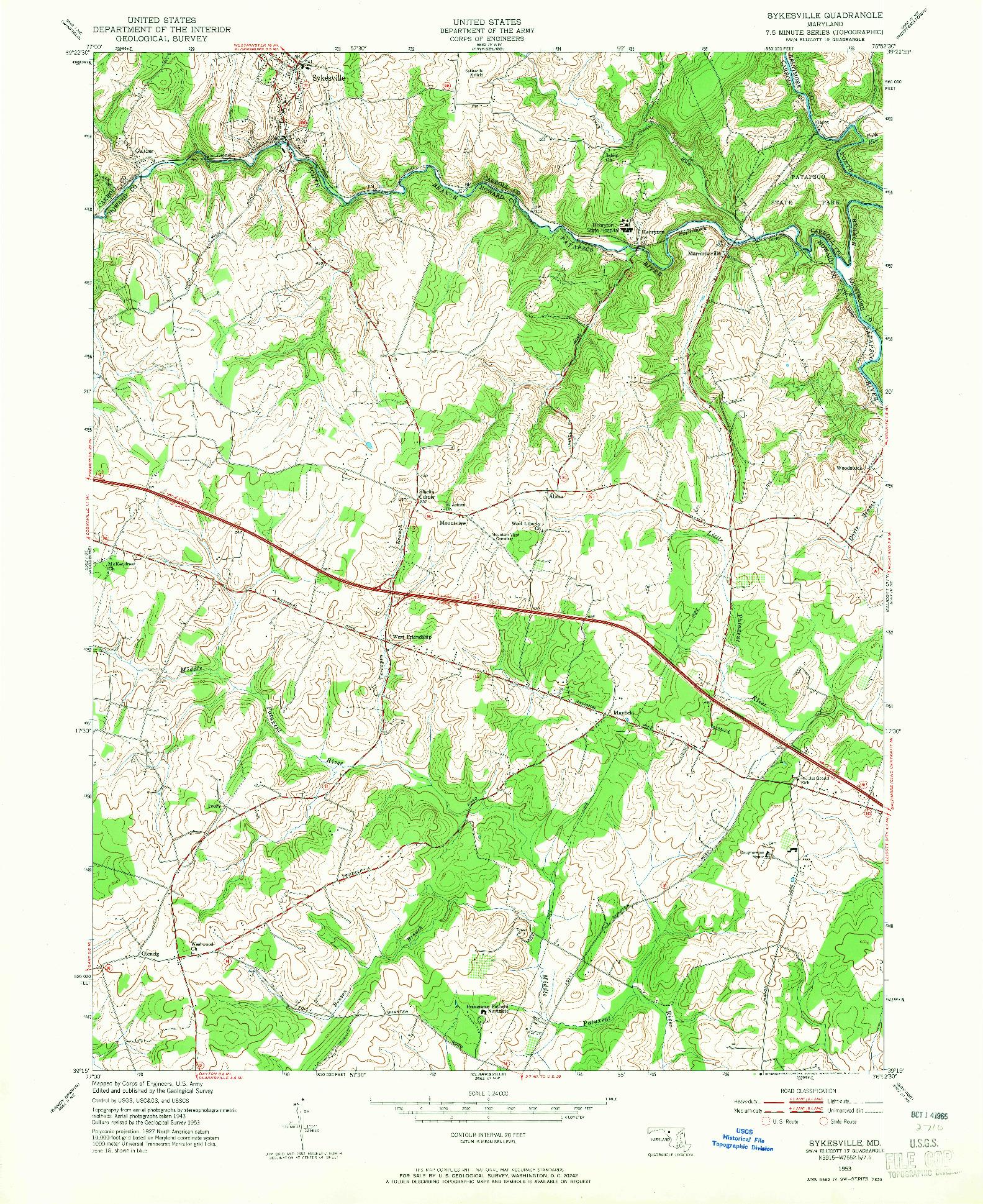 USGS 1:24000-SCALE QUADRANGLE FOR SYKESVILLE, MD 1953